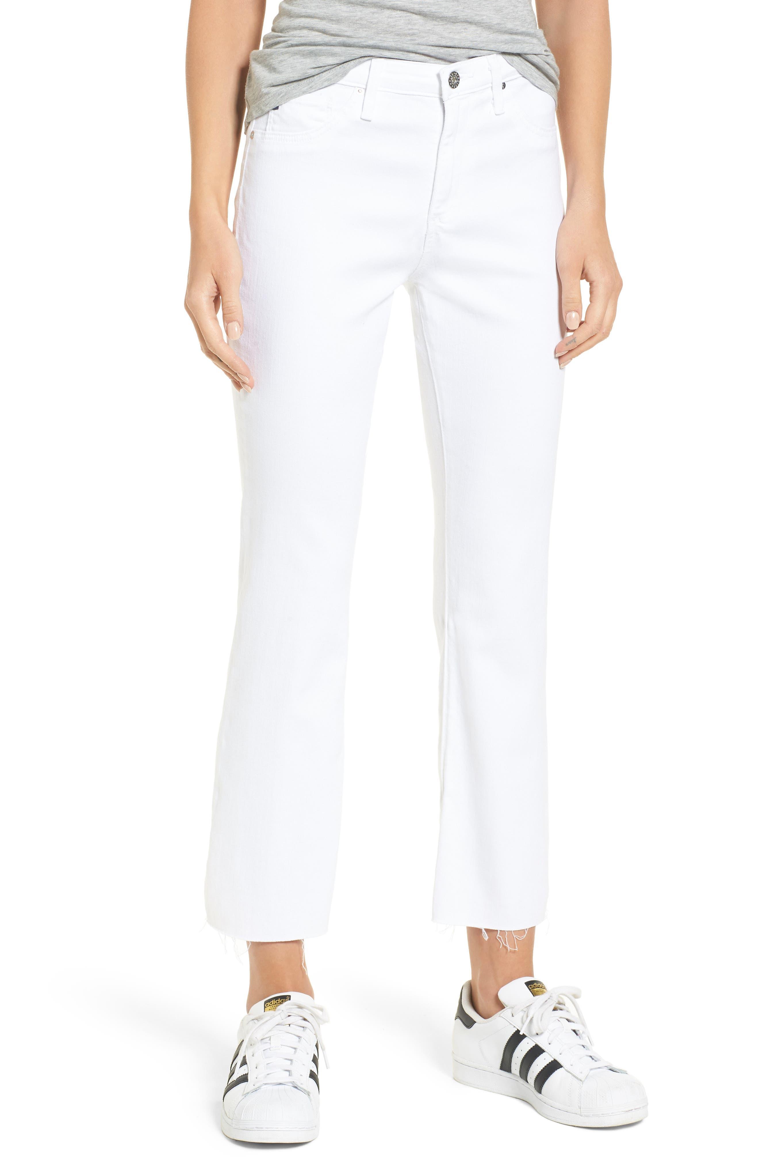 AG, Jodi High Waist Crop Jeans, Main thumbnail 1, color, WHITE