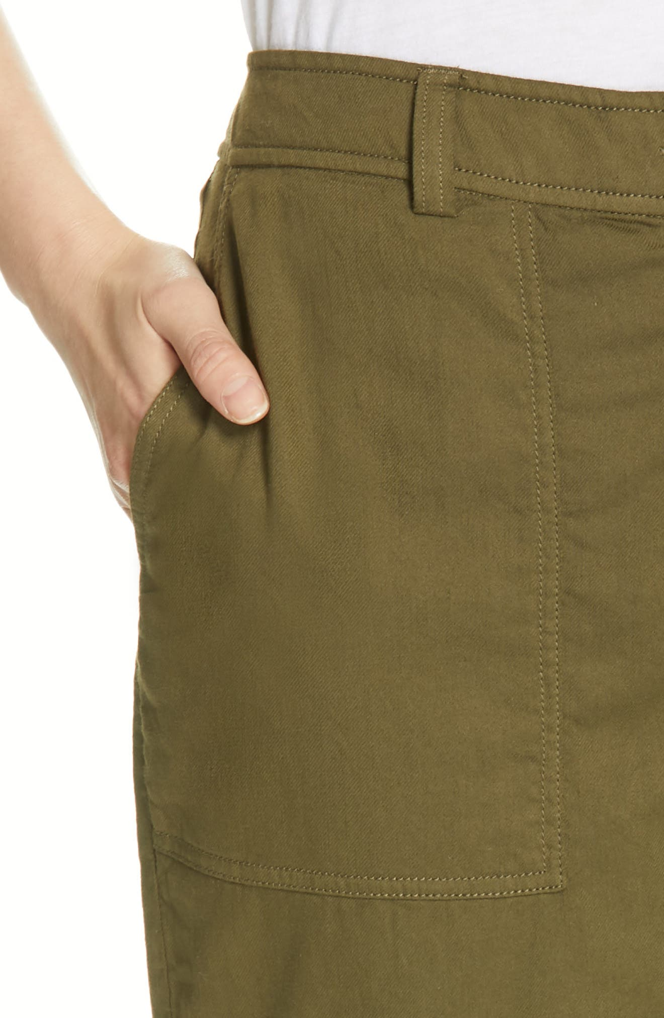 EILEEN FISHER, Slouchy Ankle Pants, Alternate thumbnail 5, color, OLIVE