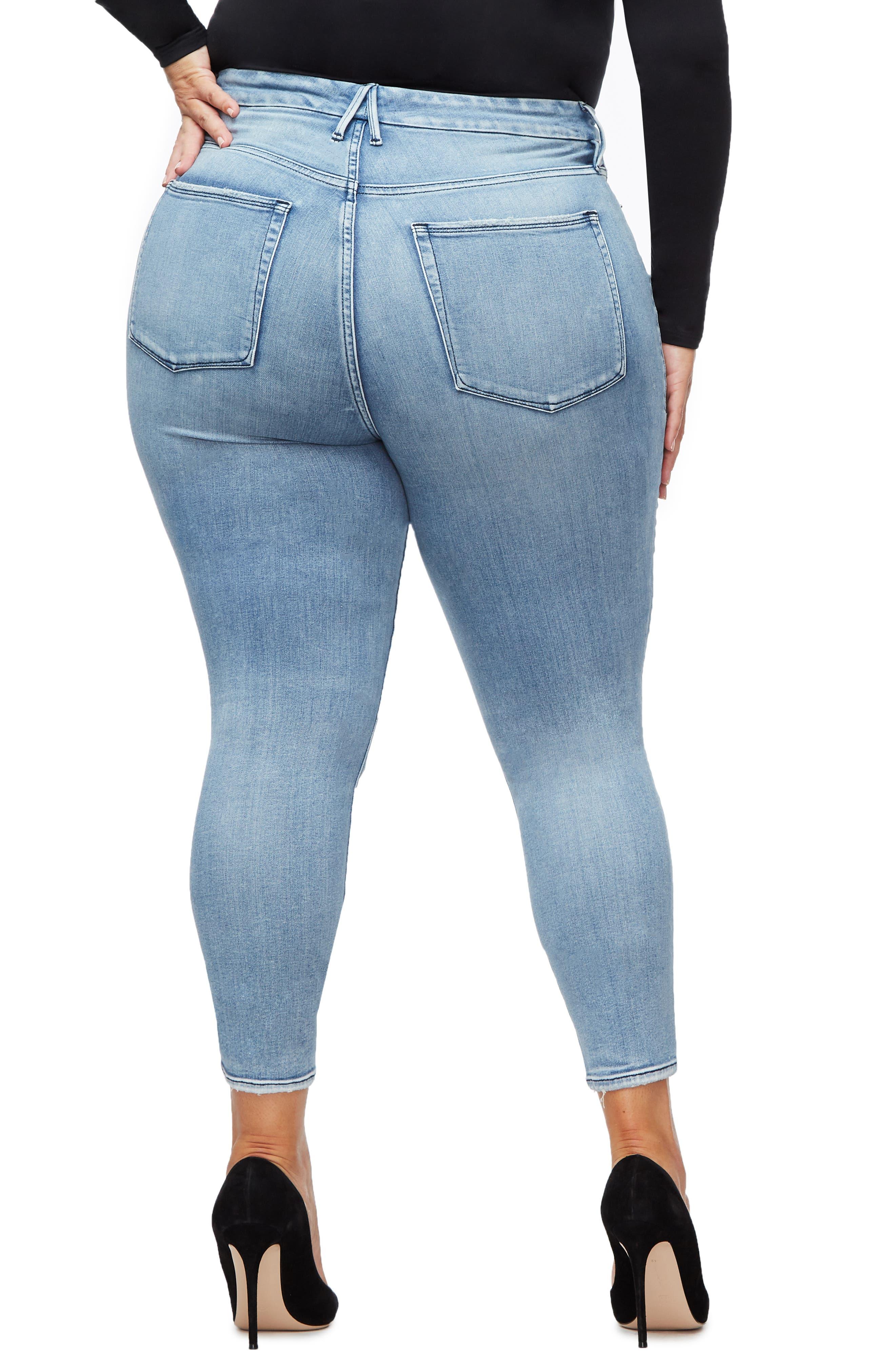GOOD AMERICAN, Good Waist Ripped High Waist Crop Skinny Jeans, Alternate thumbnail 4, color, BLUE250