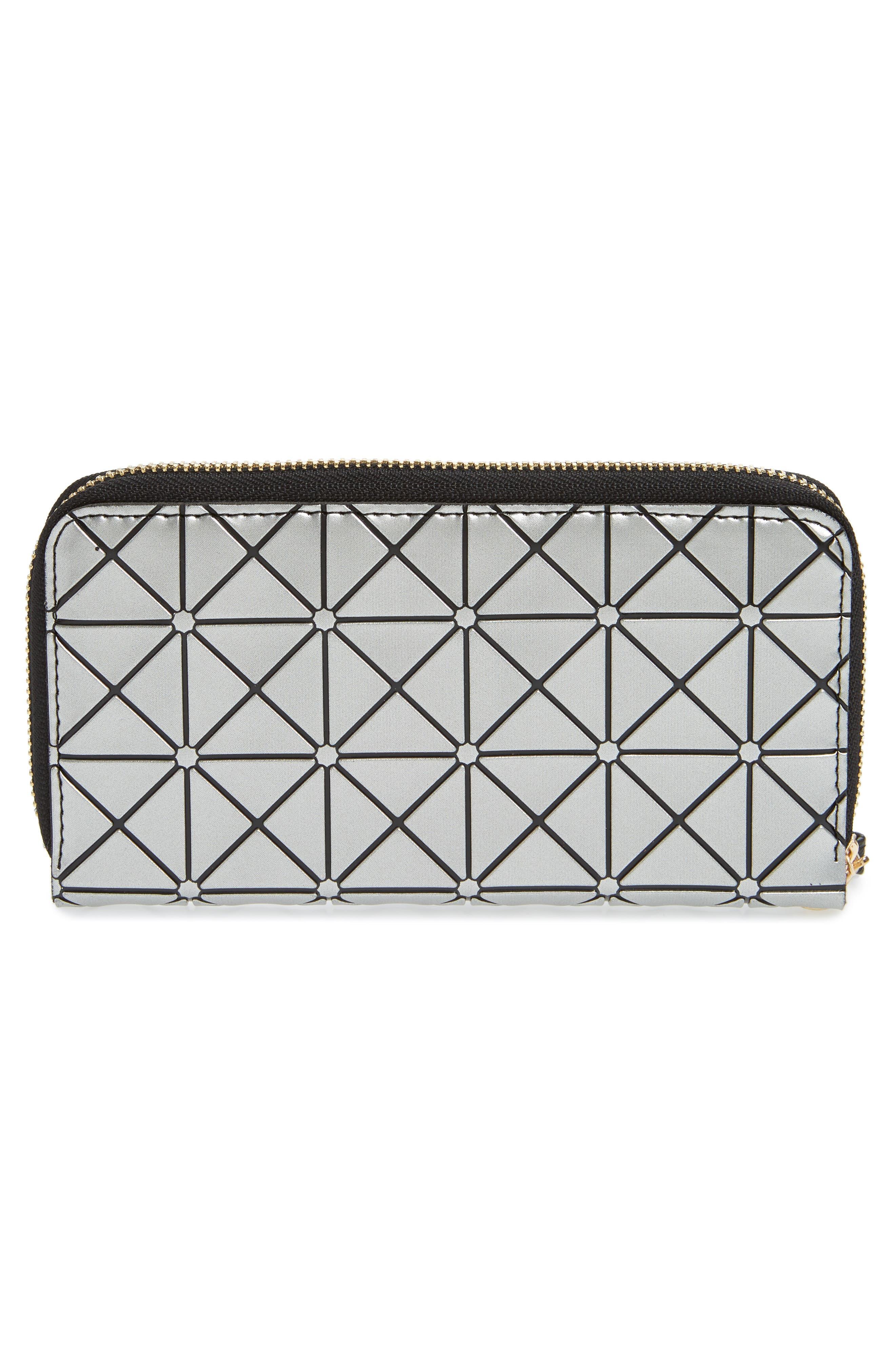 YOKI BAGS, Diamond Embossed Faux Leather Zip Wallet, Alternate thumbnail 4, color, 040