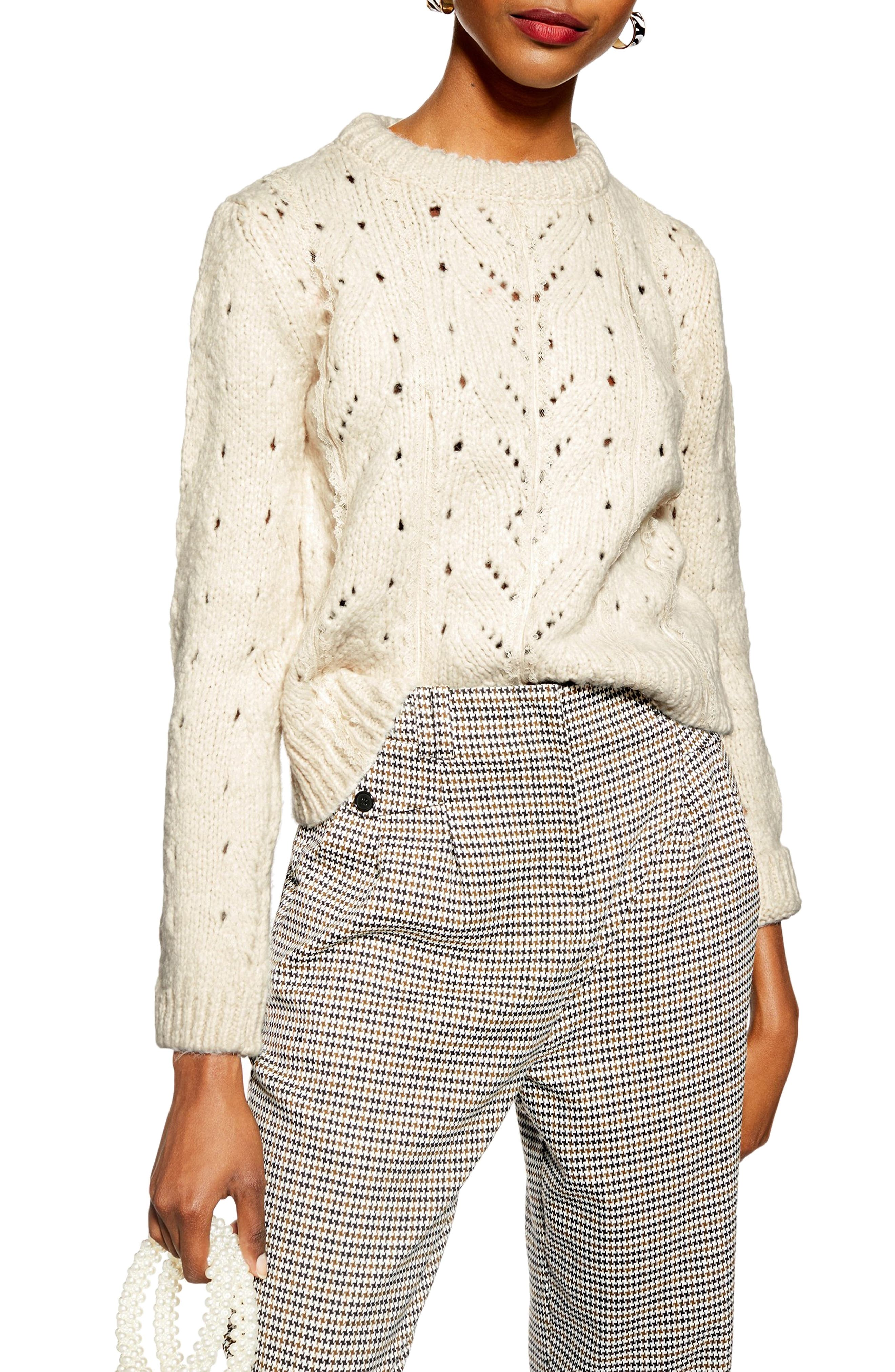 TOPSHOP, Pointelle Lace Sweater, Main thumbnail 1, color, IVORY