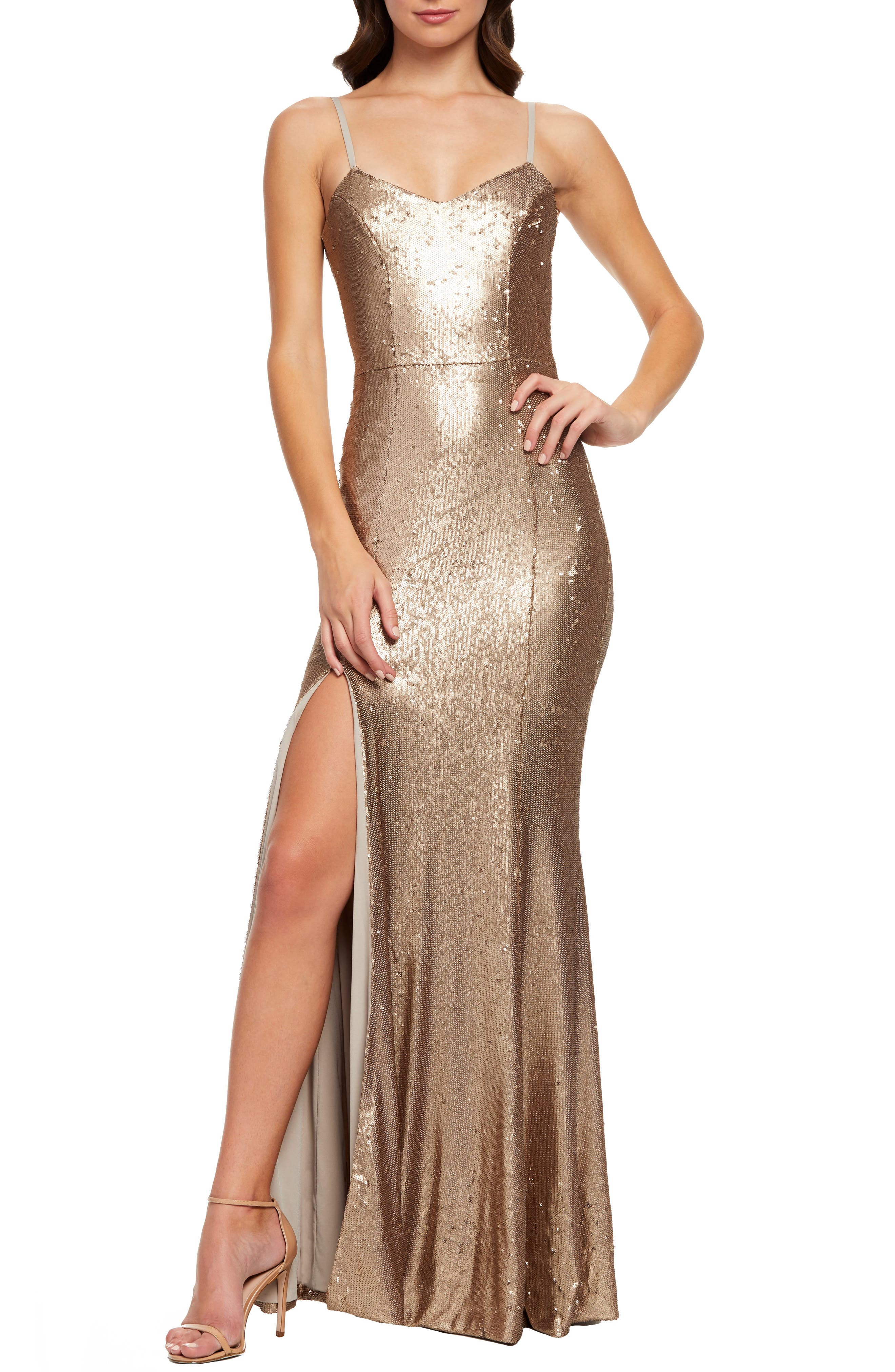 Dress The Population Ingrid Sequin Evening Dress, Metallic