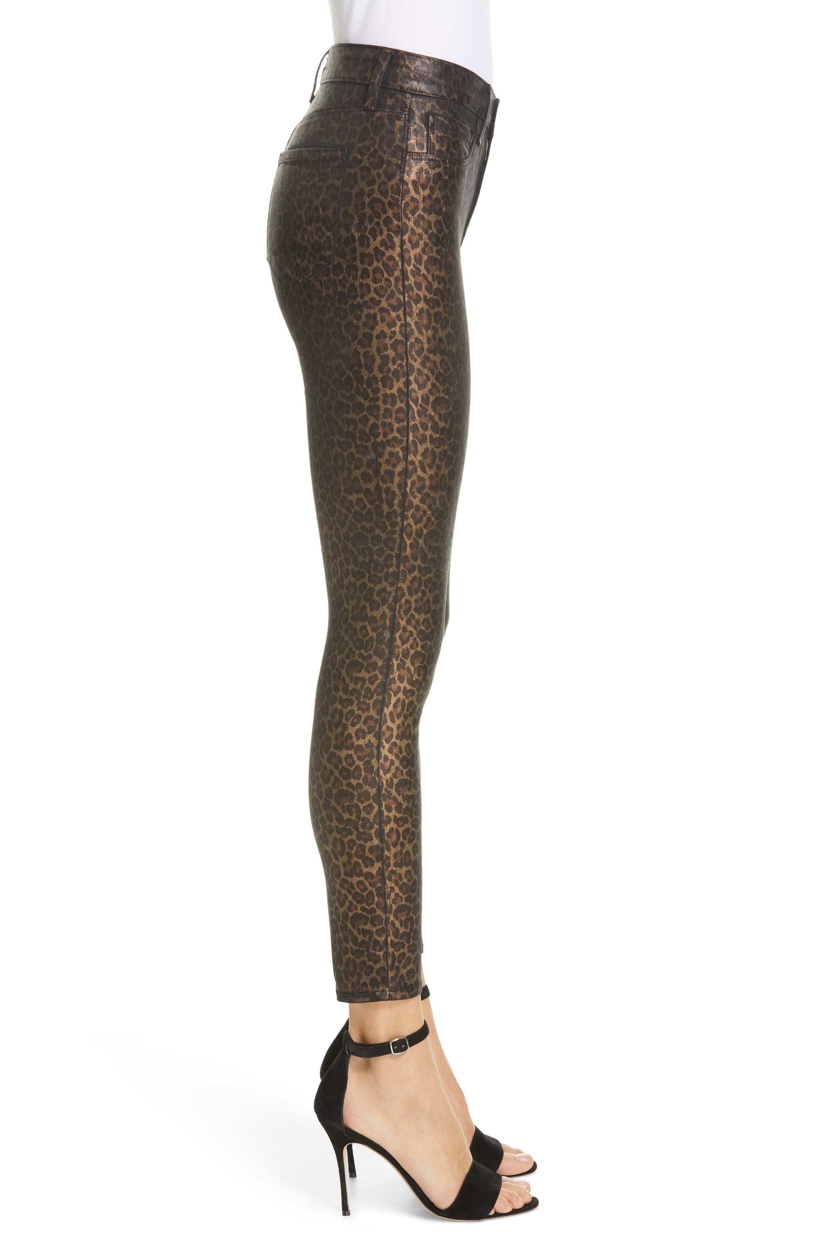 L'AGENCE, Margot Metallic Coated Crop Skinny Jeans, Alternate thumbnail 4, color, BLACK CHEETAH CRACKLE FOIL
