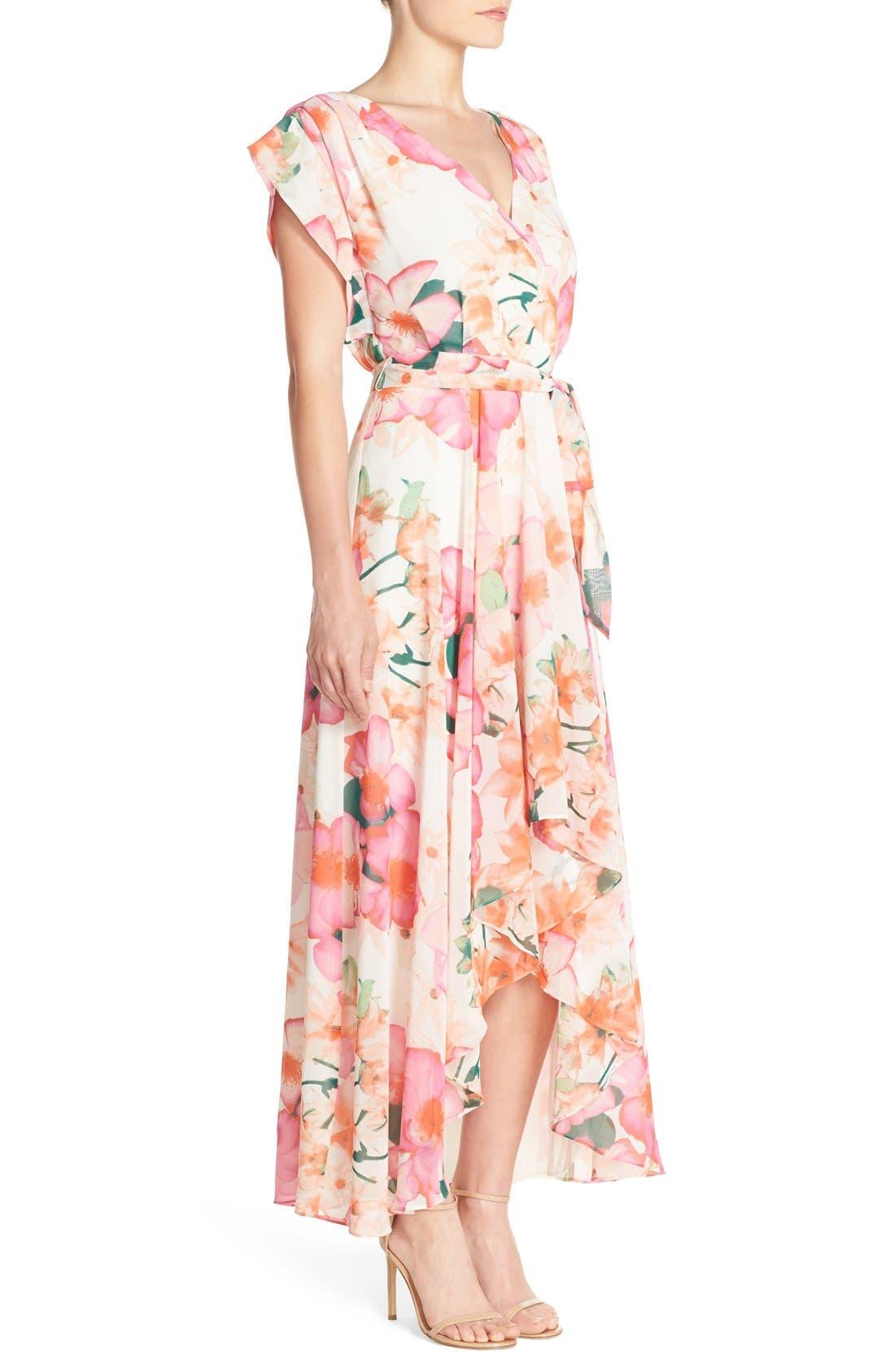 ELIZA J, Floral Print Gown, Alternate thumbnail 4, color, 653