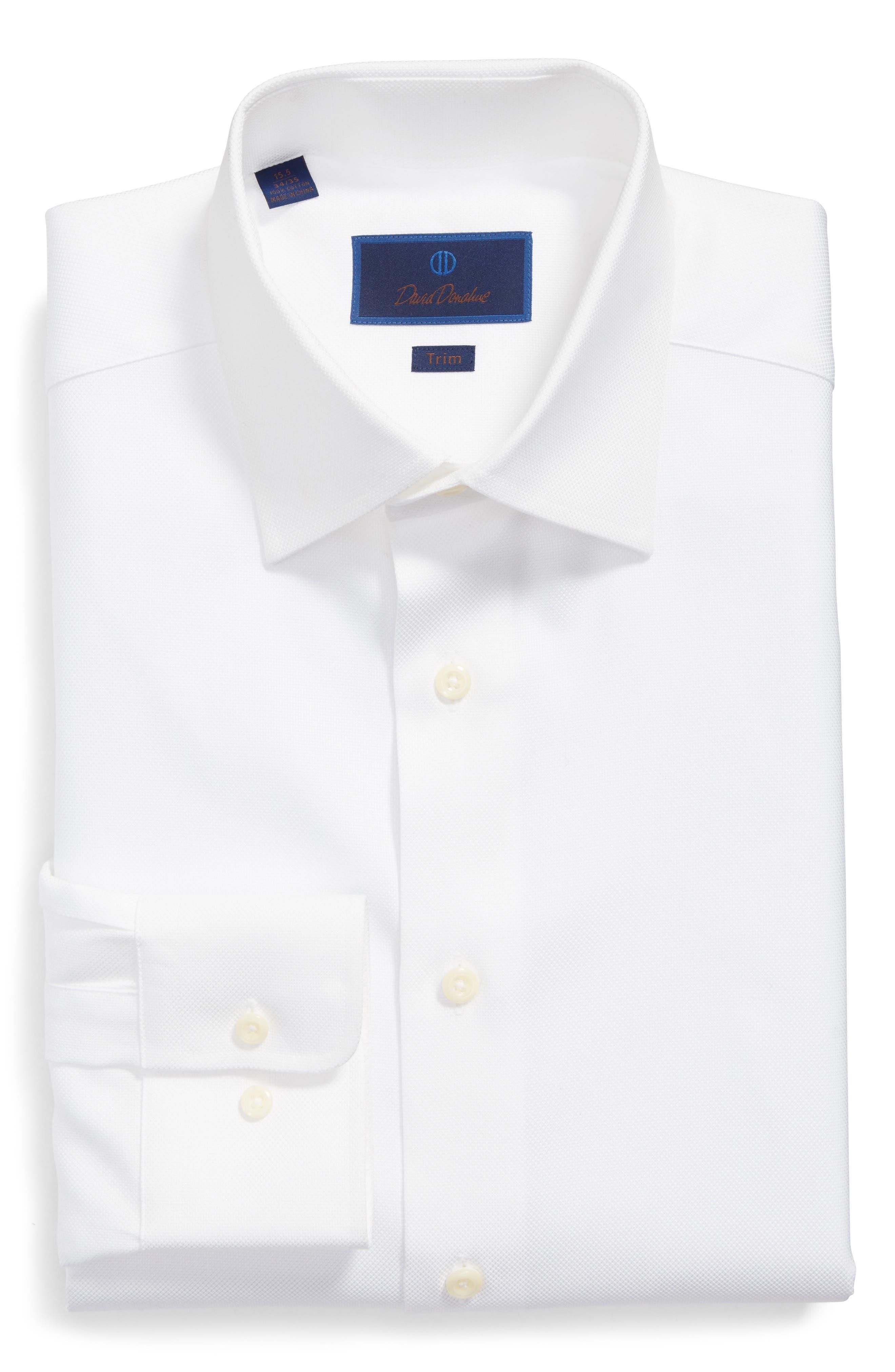 DAVID DONAHUE, Trim Fit Dress Shirt, Alternate thumbnail 3, color, WHITE