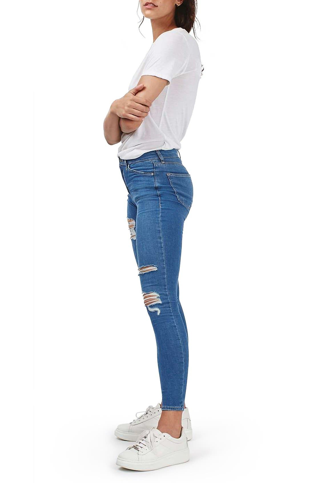 TOPSHOP, Moto Leigh Super Ripped Ankle Skinny Jeans, Alternate thumbnail 3, color, 400