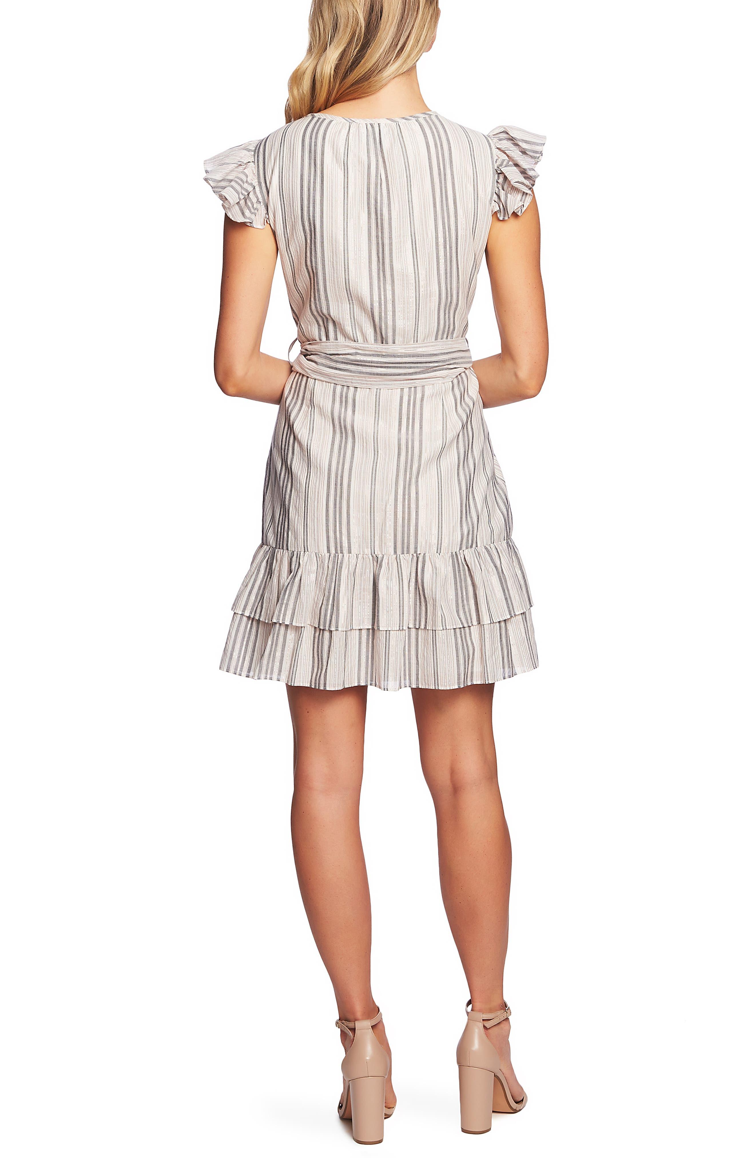 CECE, Ruffle Flutter Sleeve Dress, Alternate thumbnail 2, color, SOFT ECRU