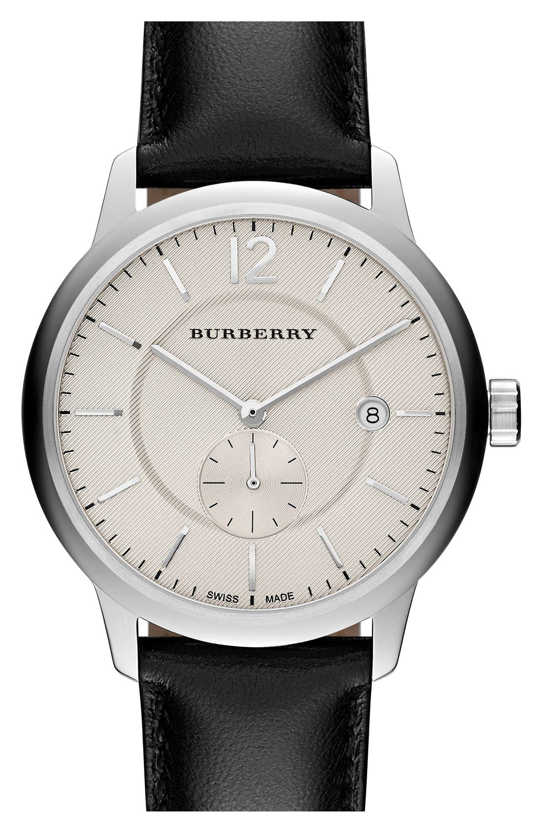 BURBERRY, Textured Dial Watch, 40mm, Main thumbnail 1, color, 001