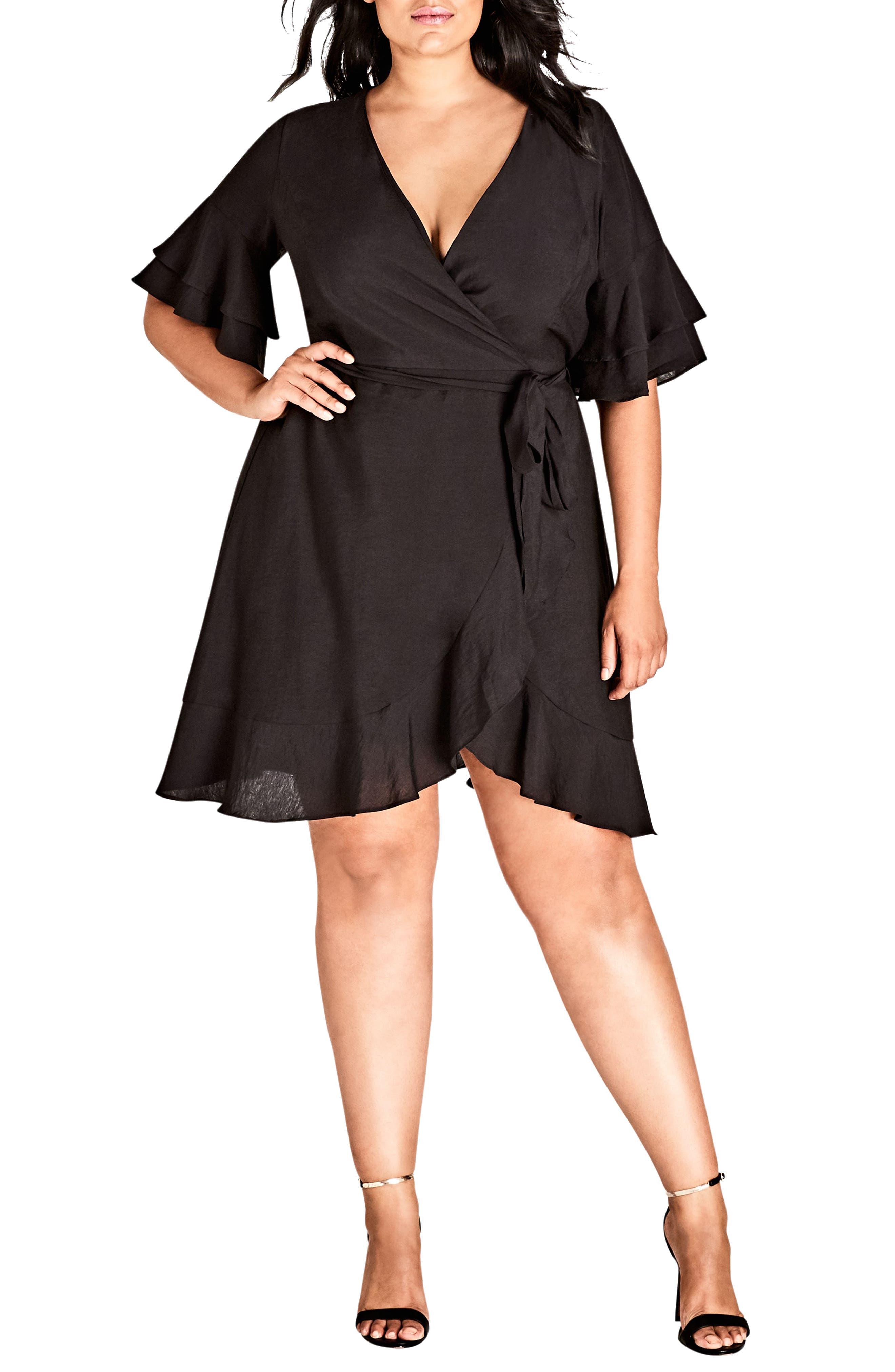Plus Size City Chic Flounce Sleeve Dress, Black