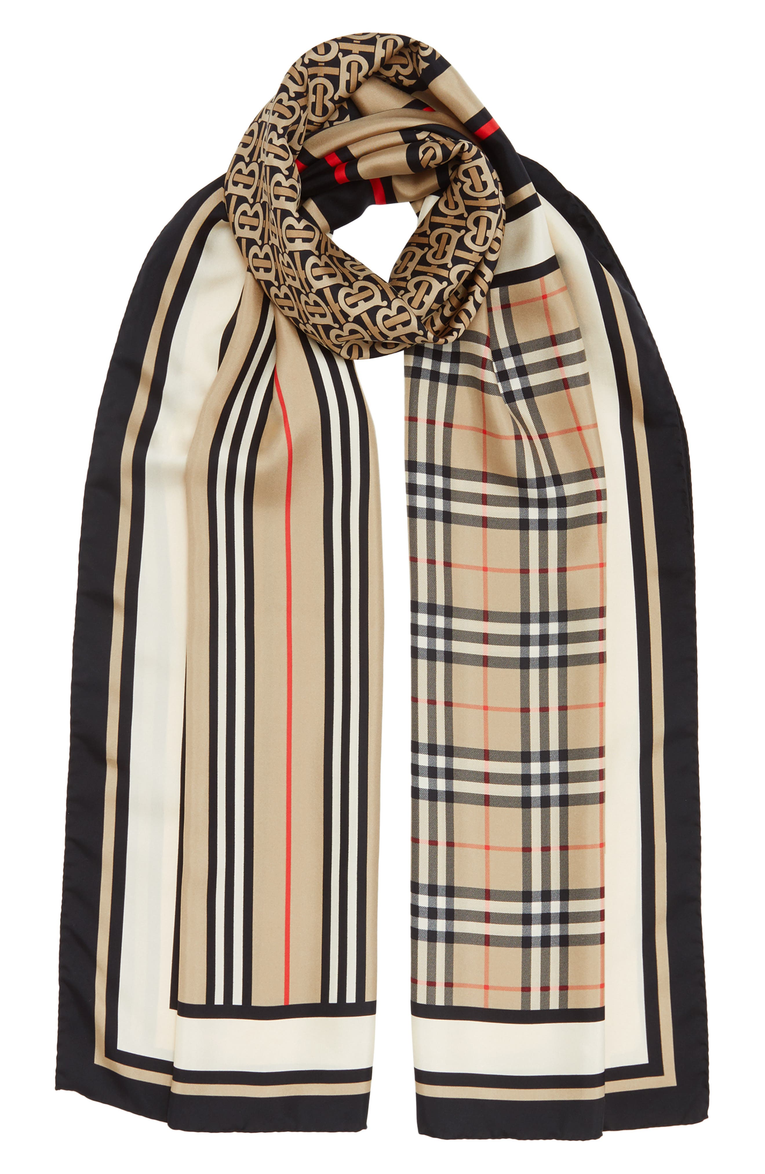 BURBERRY, Mixed Print Mulberry Silk Scarf, Alternate thumbnail 2, color, ARCHIVE BEIGE