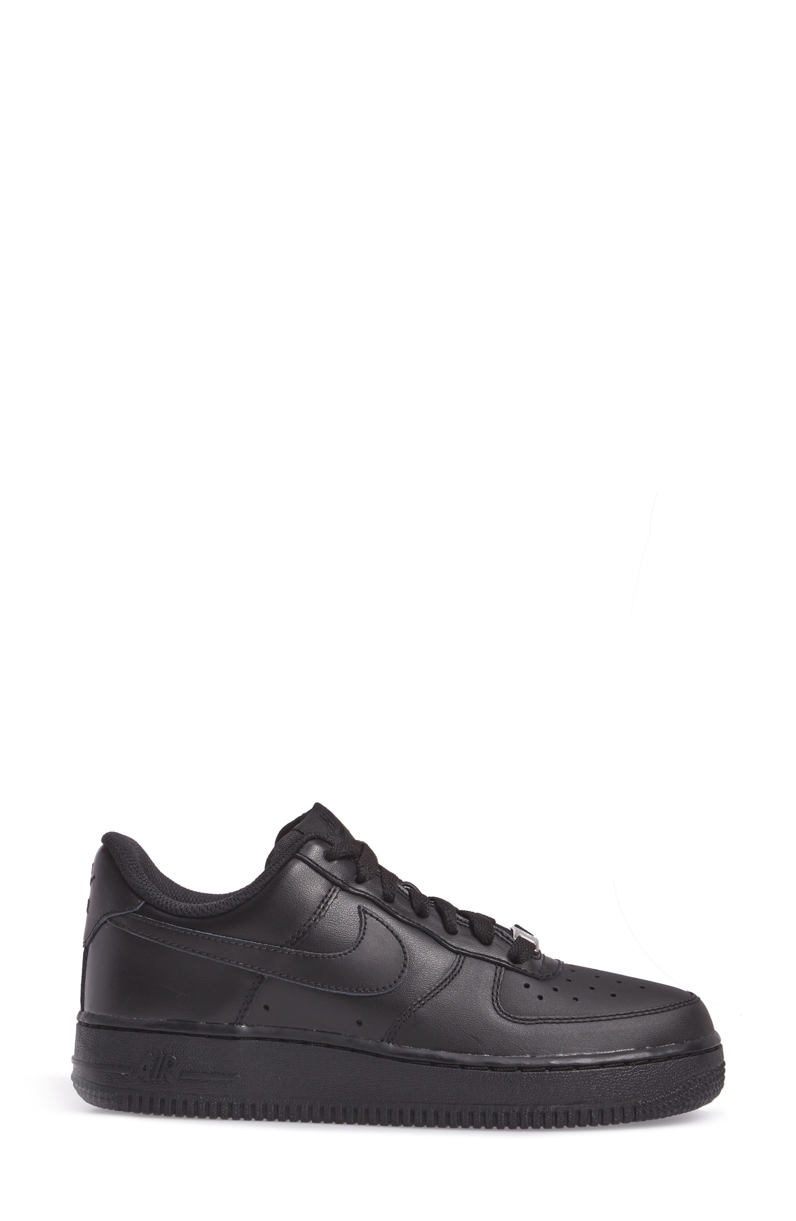 NIKE, 'Air Force 1' Basketball Sneaker, Alternate thumbnail 3, color, BLACK/ BLACK