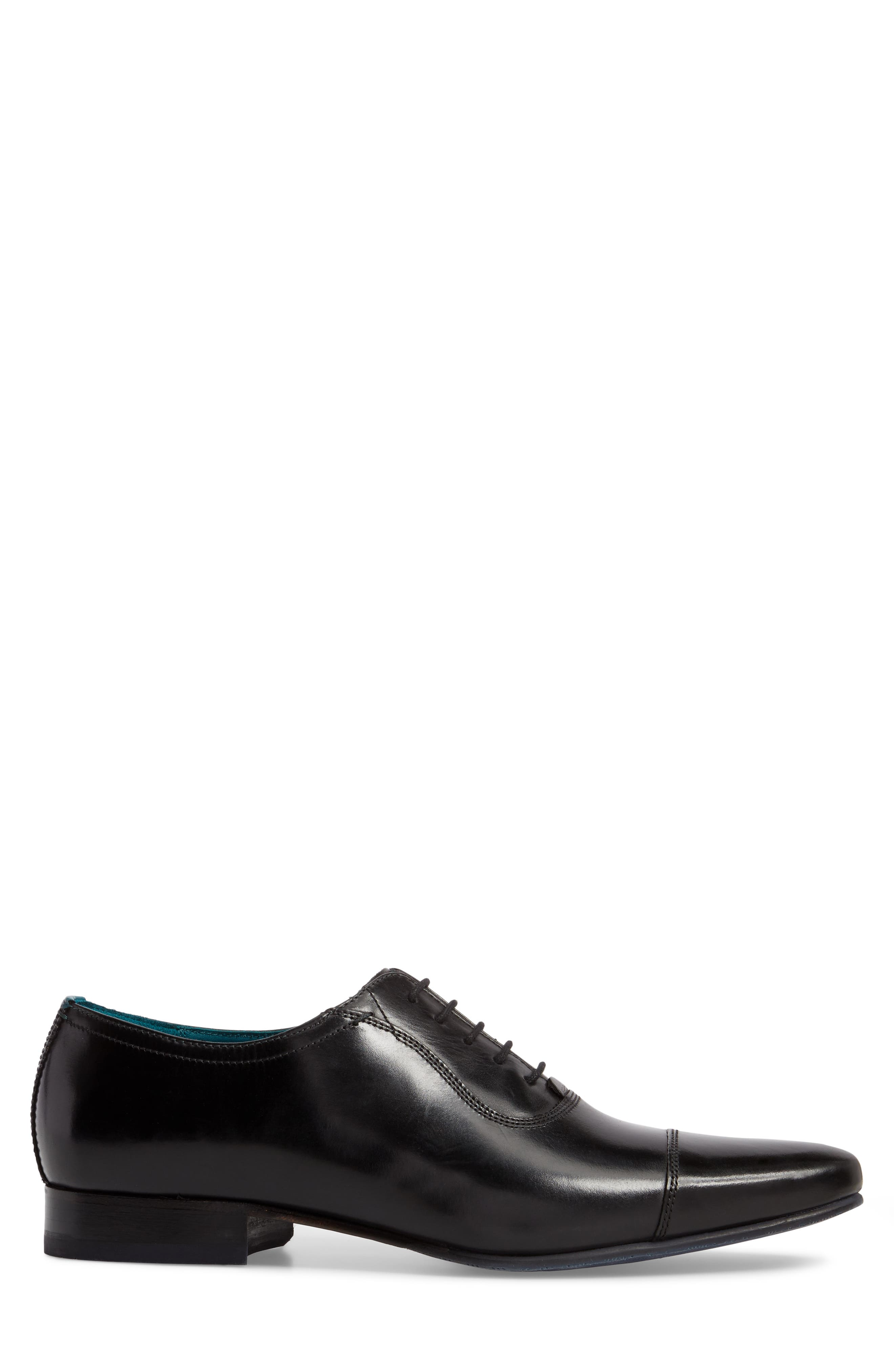 TED BAKER LONDON, Karney Cap Toe Oxford, Alternate thumbnail 3, color, BLACK LEATHER