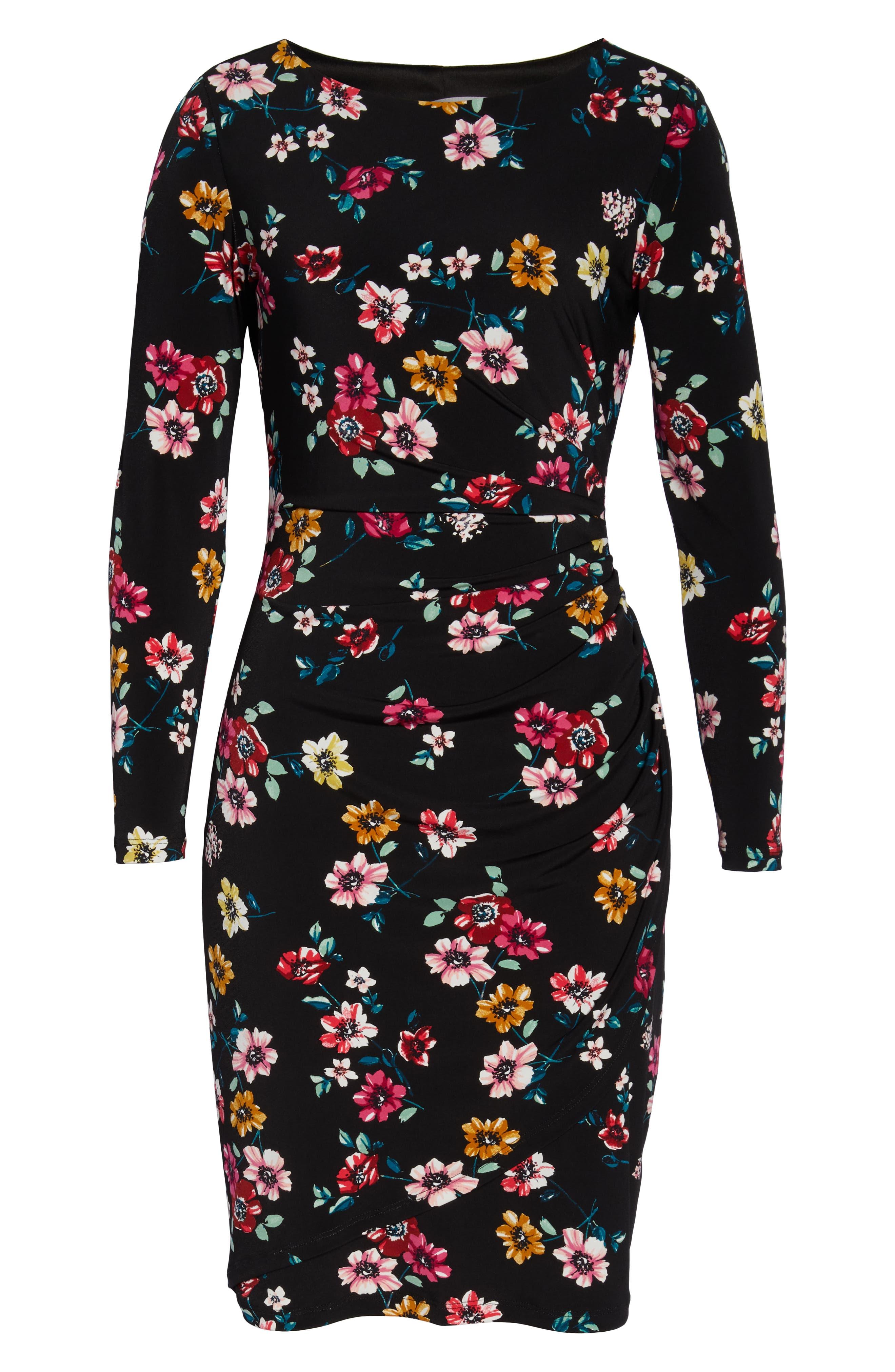 ELIZA J, Floral Sheath Dress, Alternate thumbnail 7, color, 001
