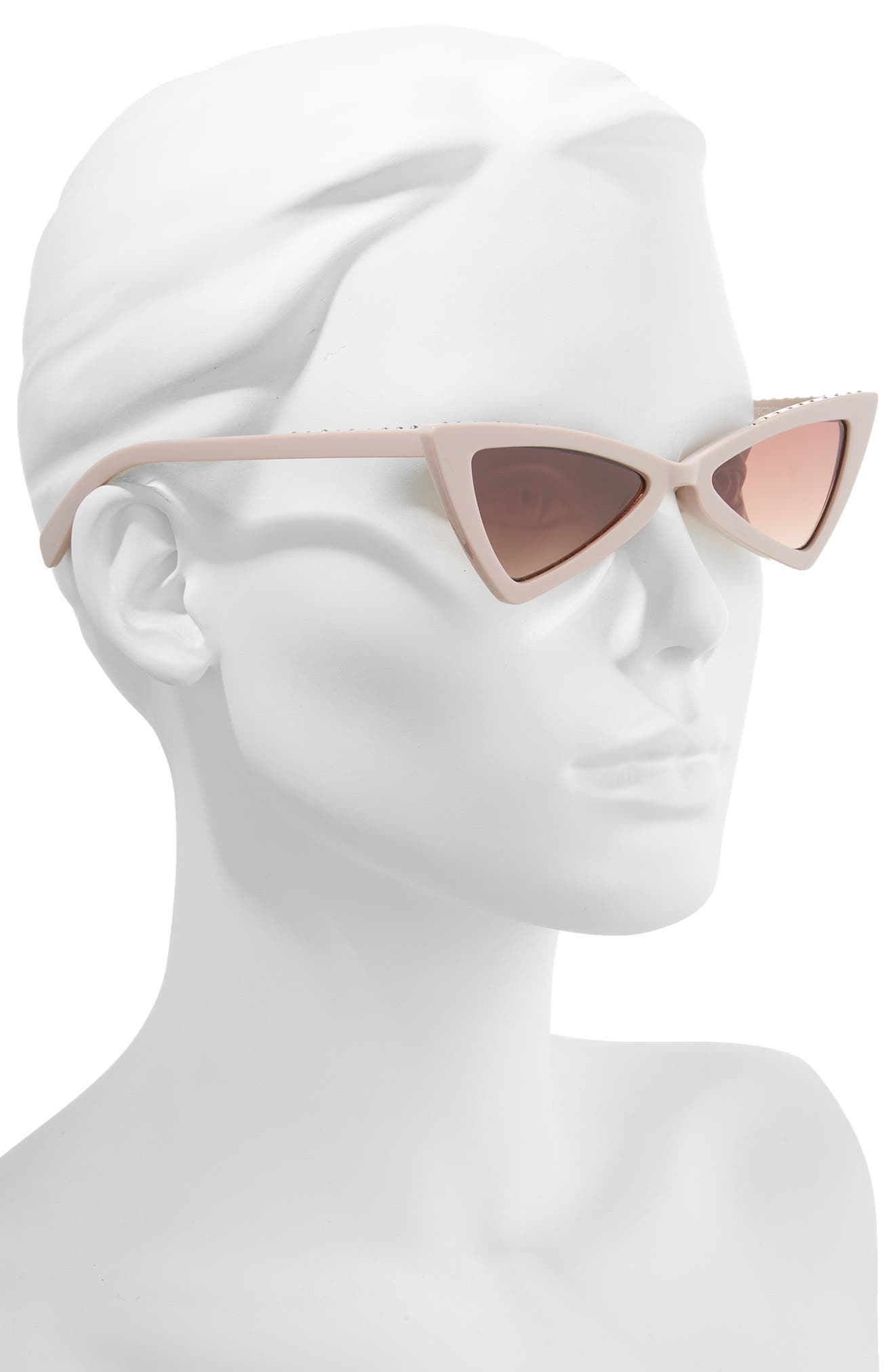 LEITH, 52mm Stud Cat Eye Sunglasses, Alternate thumbnail 2, color, TAUPE/ GOLD