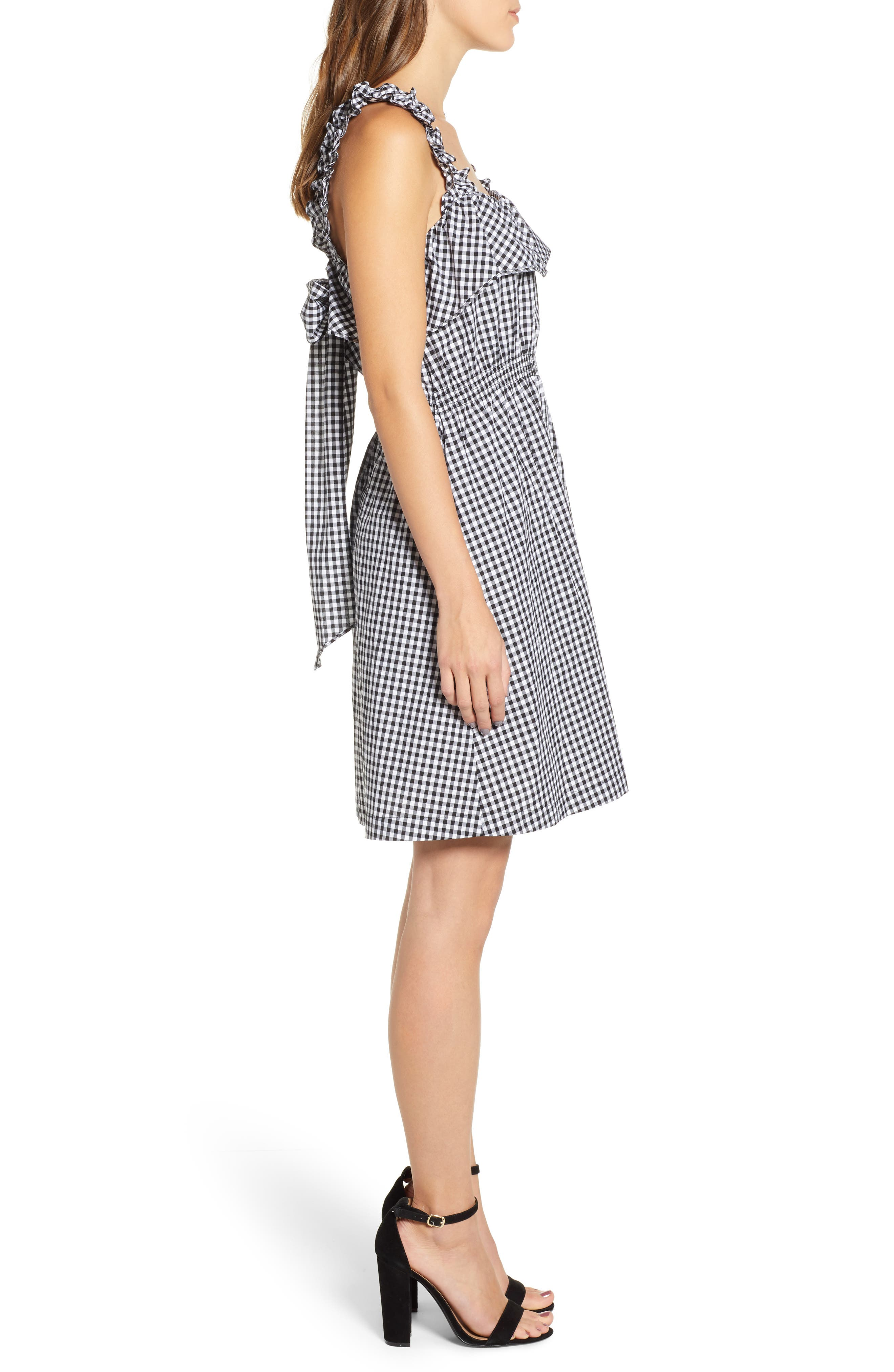 7 FOR ALL MANKIND<SUP>®</SUP>, Gingham Ruffle Dress, Alternate thumbnail 4, color, 005