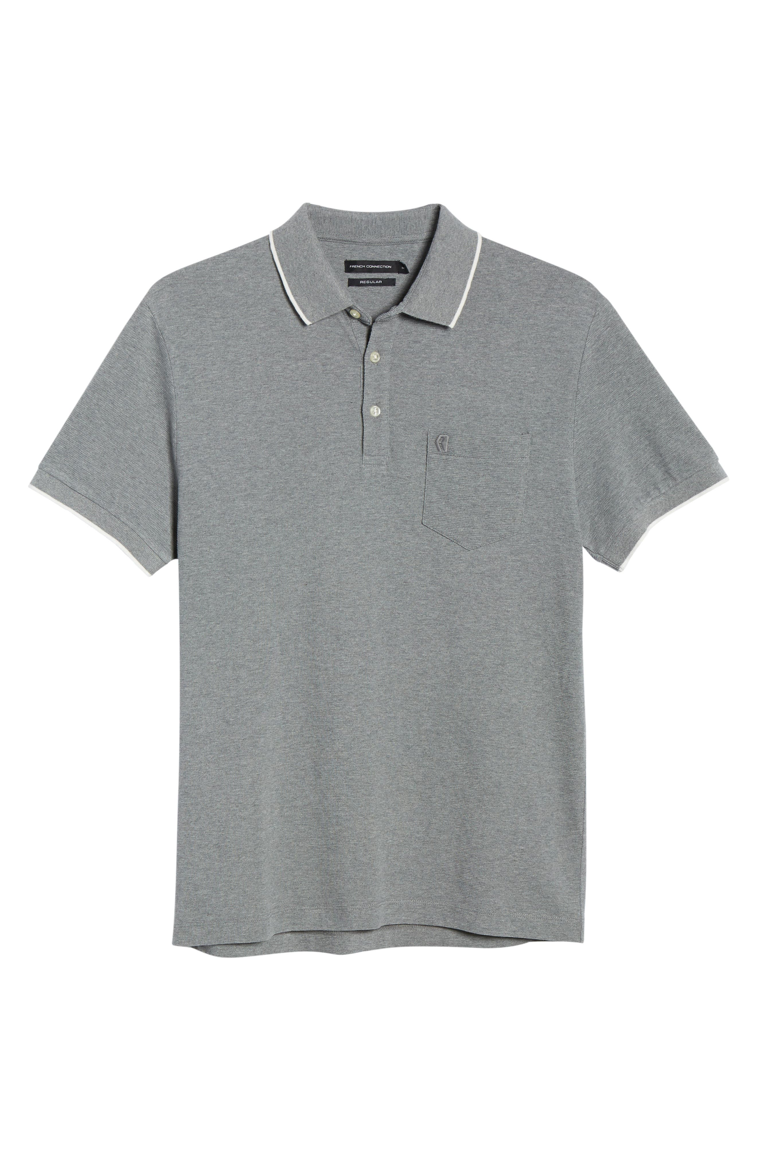 FRENCH CONNECTION, Parched Piqué Polo, Alternate thumbnail 6, color, MID GREY MEL WHITE