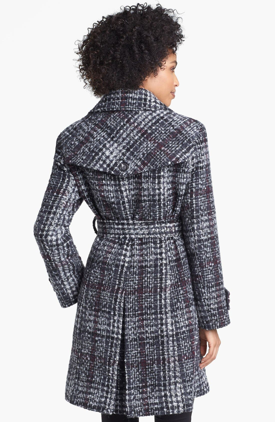 DKNY, Belted Plaid Tweed Coat, Alternate thumbnail 2, color, 061