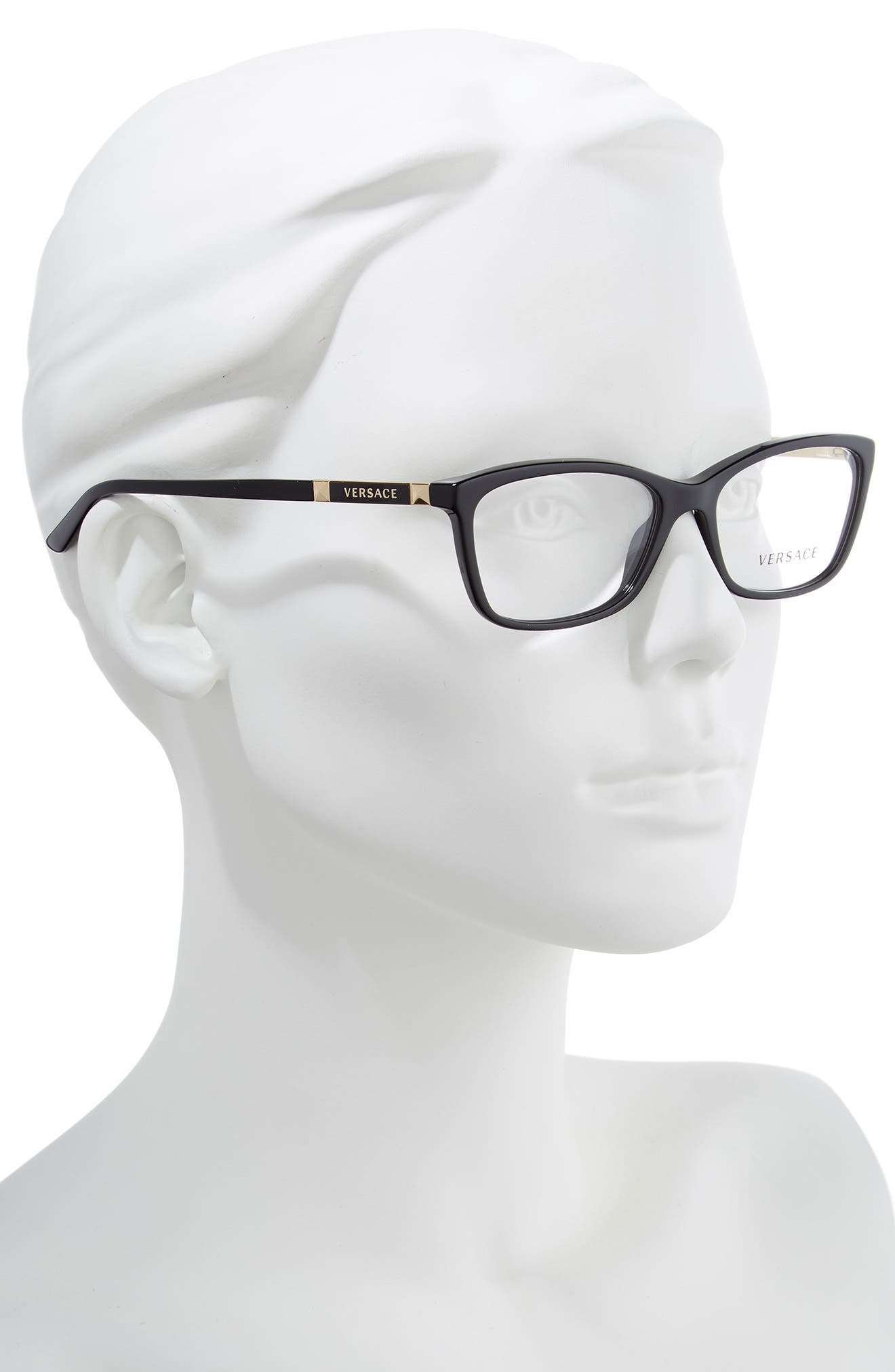 VERSACE, 54mm Optical Glasses, Alternate thumbnail 2, color, BLACK