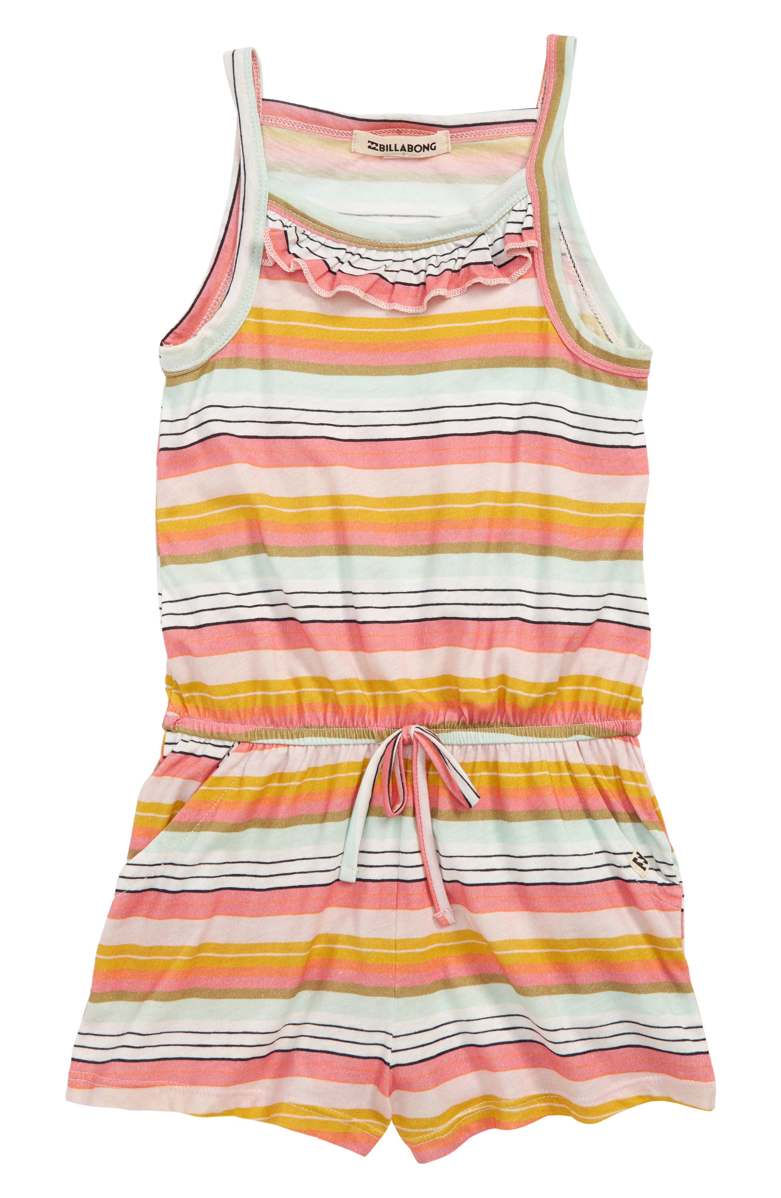 Girls Billabong Only One Stripe Ruffle Romper Size L (1214)  Coral