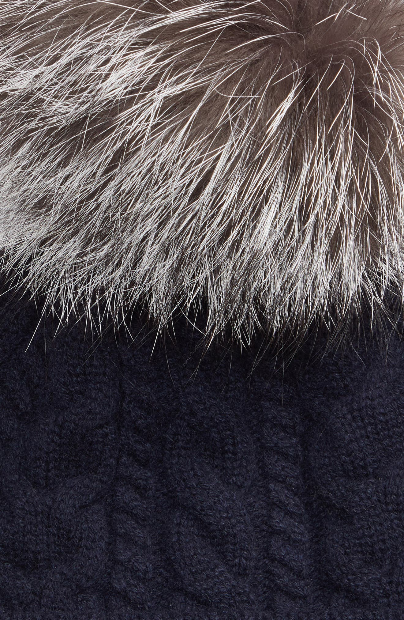 MONCLER, Genuine Fox Fur Pom Wool Beanie, Alternate thumbnail 2, color, NAVY