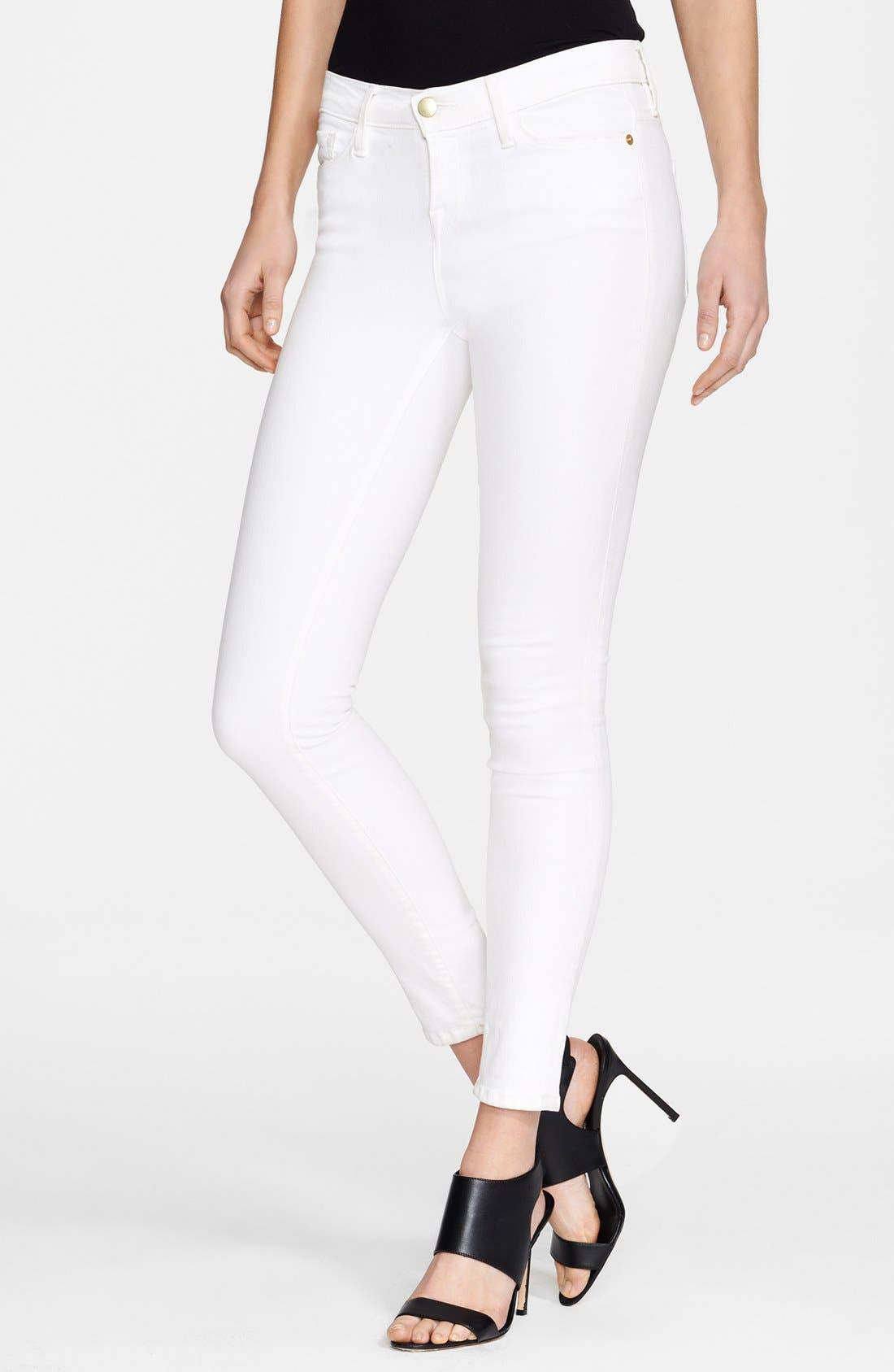 FRAME, Le Color Skinny Jeans, Main thumbnail 1, color, BLANC