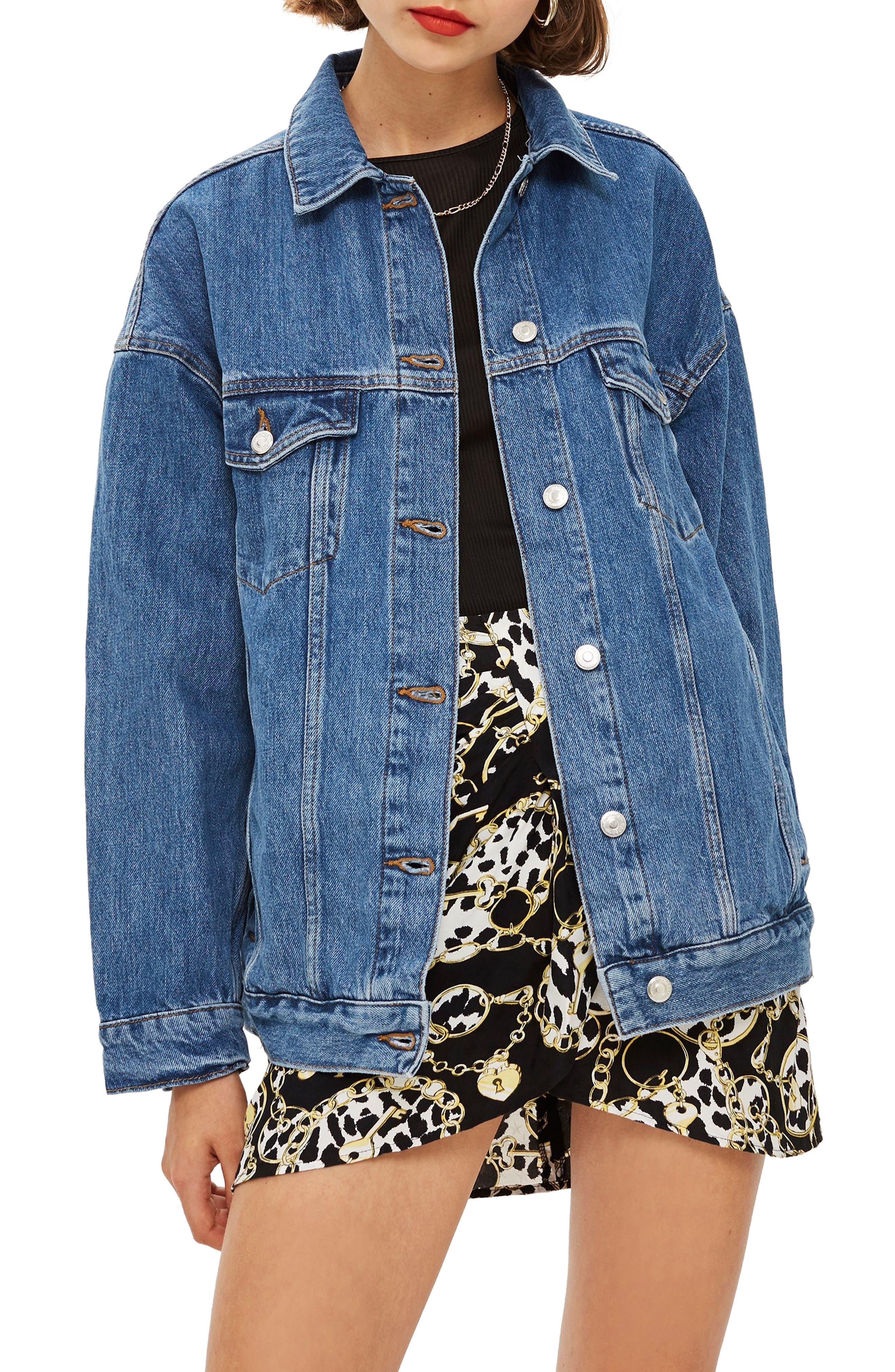 TOPSHOP, Oversized Denim Jacket, Main thumbnail 1, color, MID DENIM