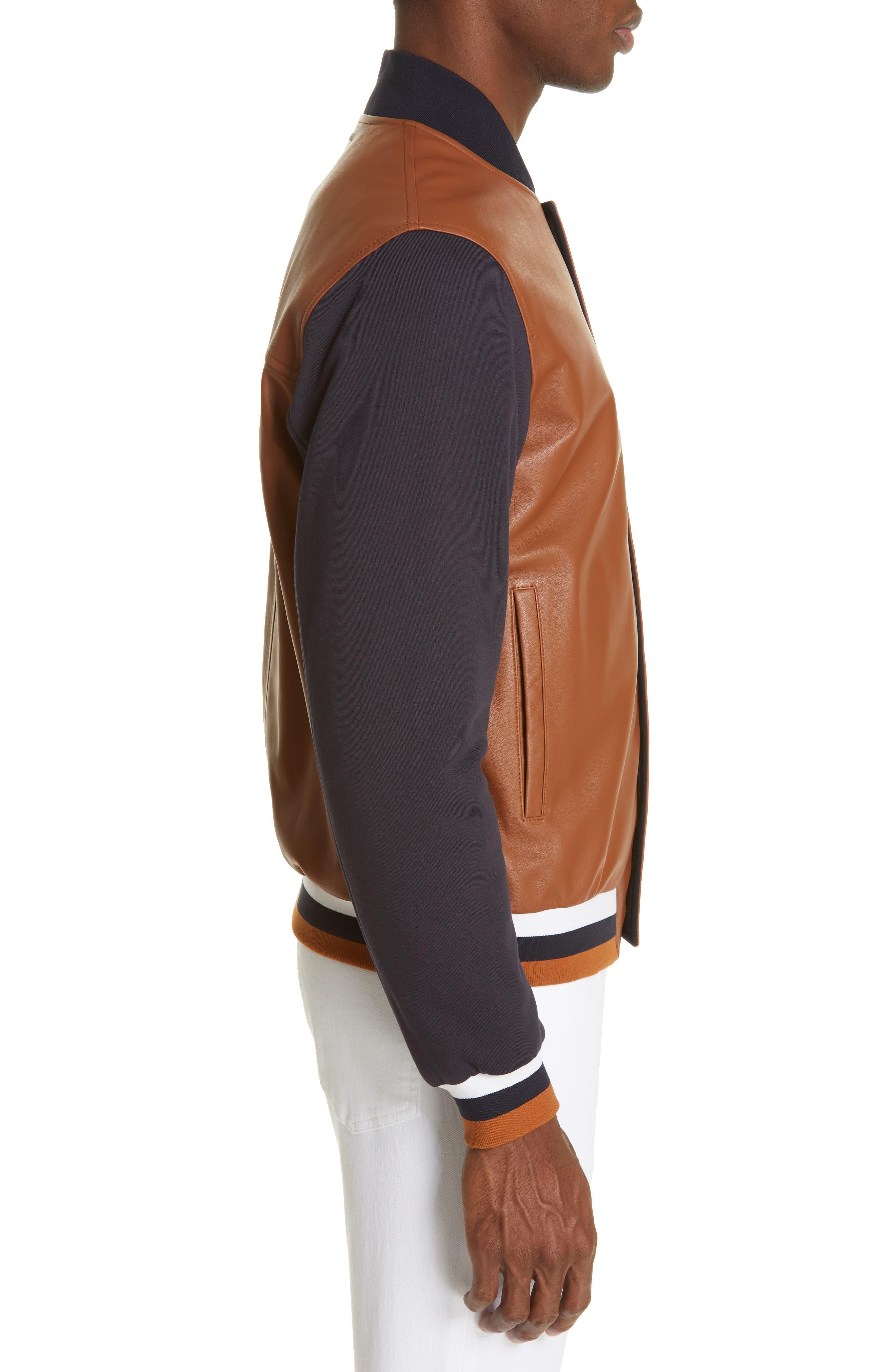 Z ZEGNA, Contrast Leather Bomber Jacket, Alternate thumbnail 3, color, NAVY/ BROWN
