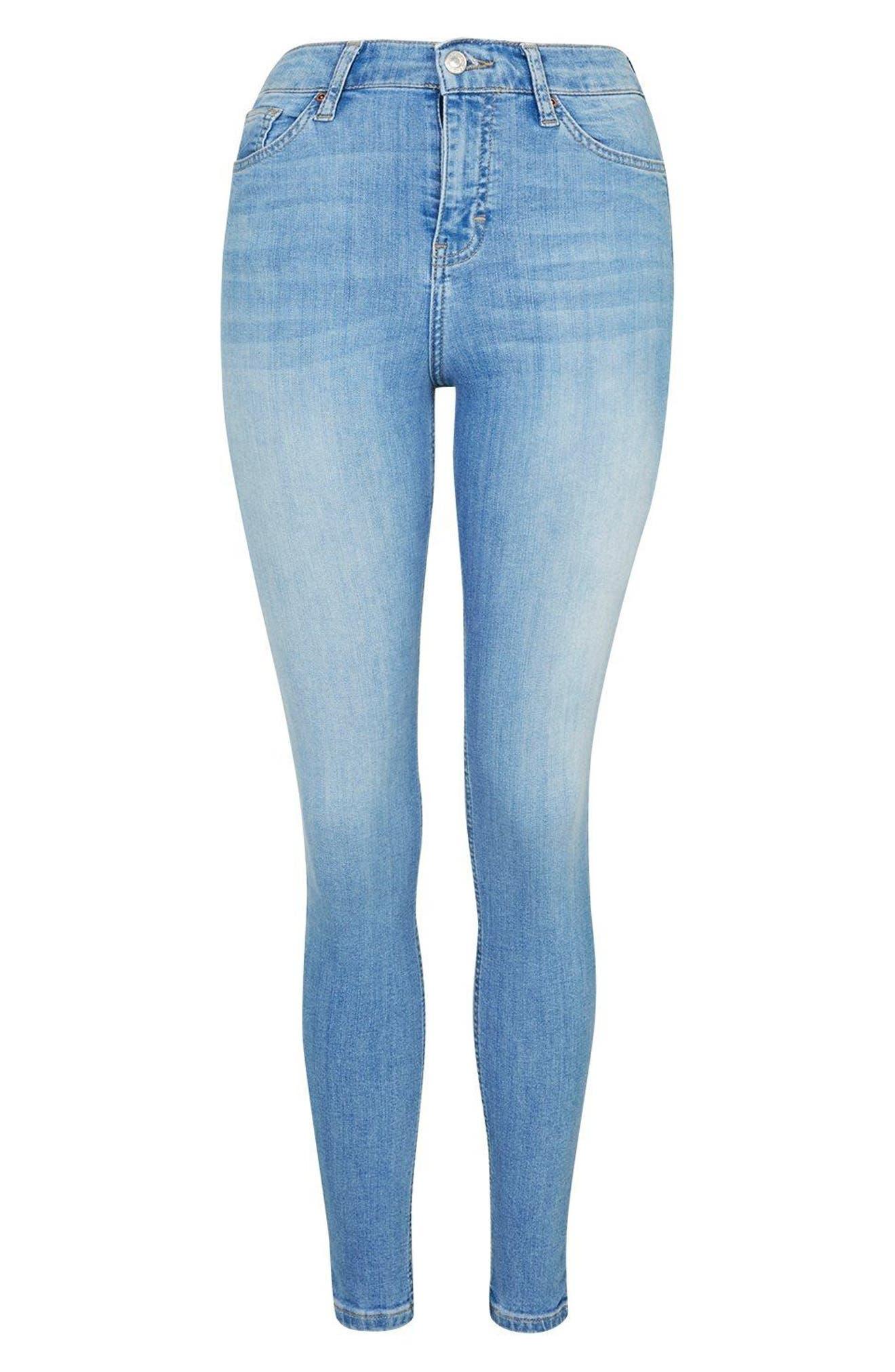 TOPSHOP, Moto Jamie High Waist Skinny Jeans, Alternate thumbnail 5, color, 450