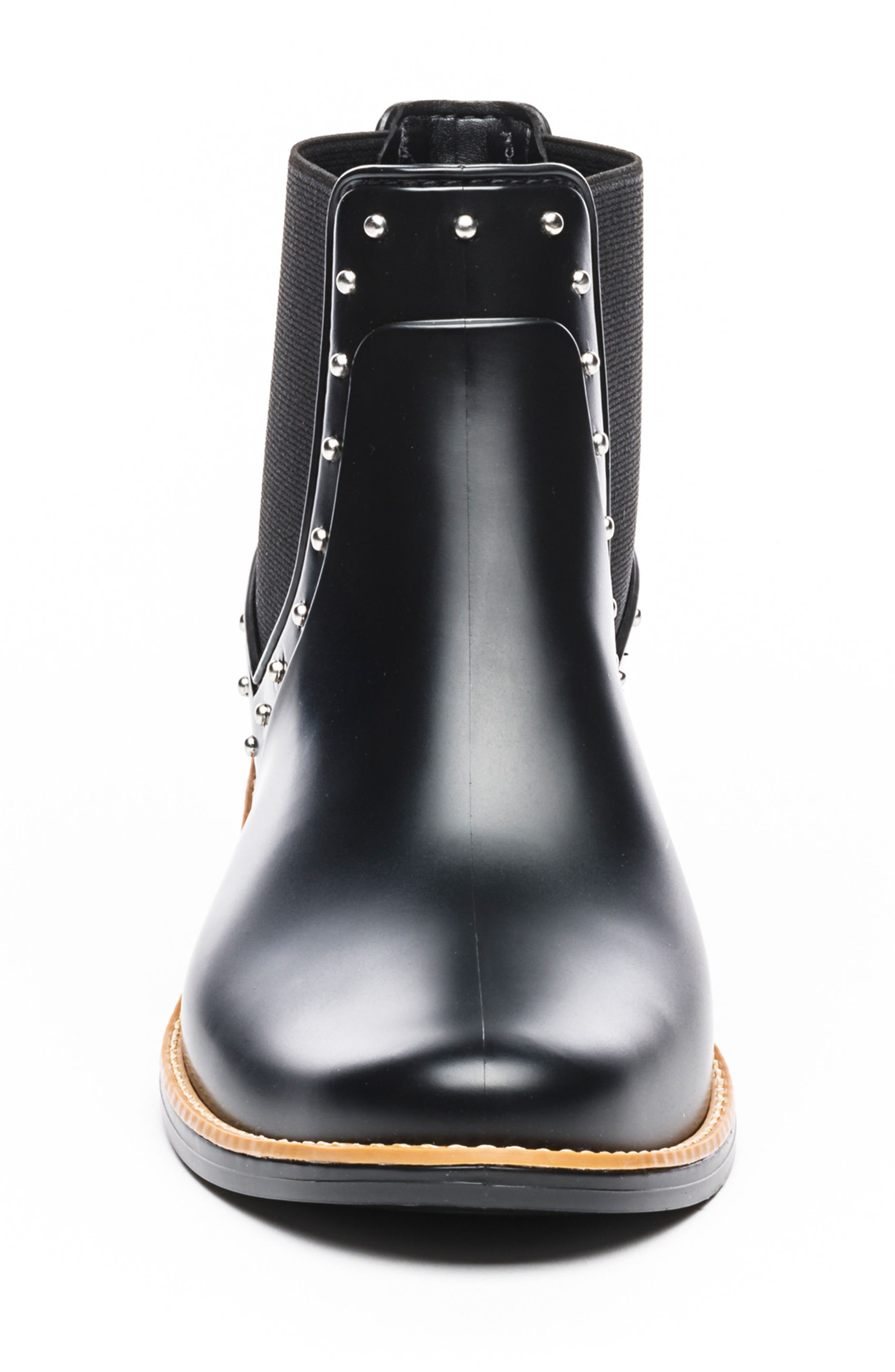 BERNARDO, Peyton Waterproof Rain Bootie, Alternate thumbnail 4, color, BLACK