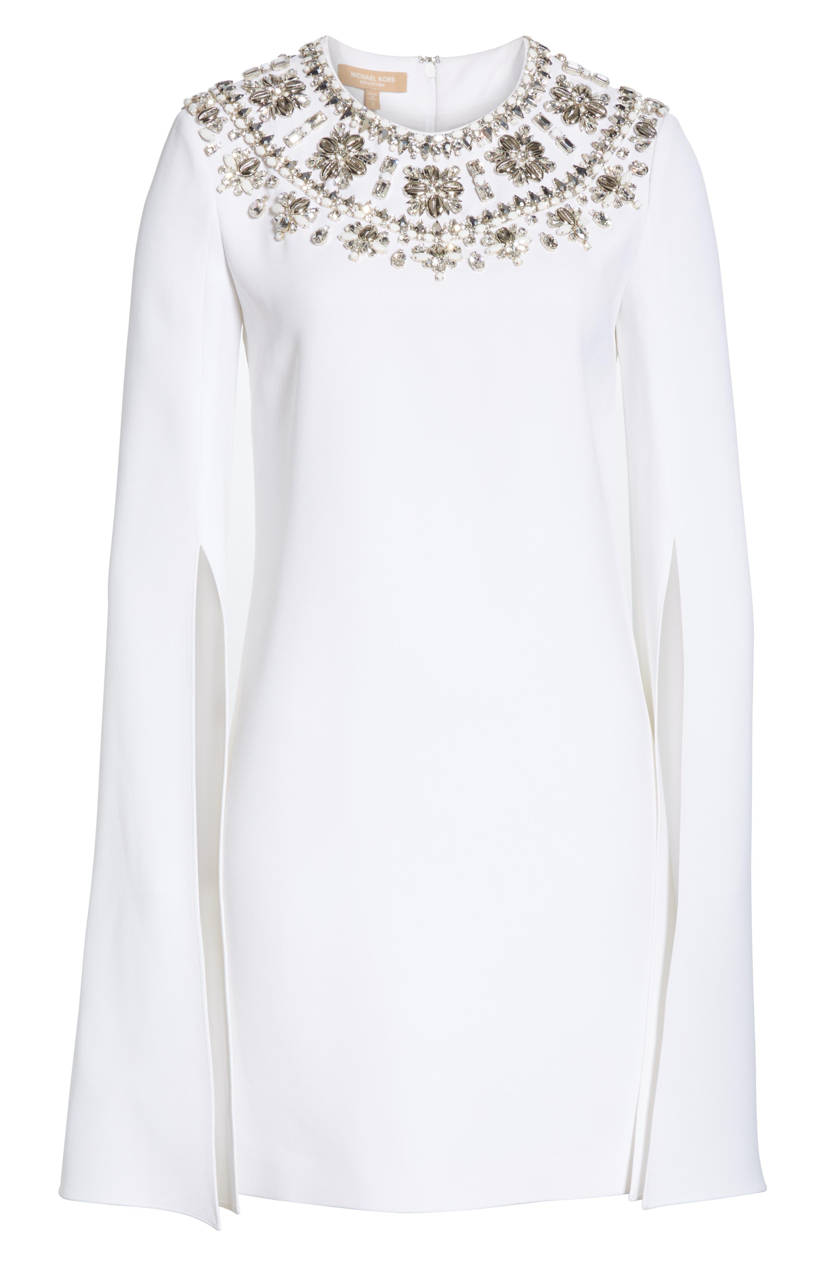 MICHAEL KORS, Crystal Embellished Split Sleeve Double Crepe Sable Dress, Alternate thumbnail 7, color, OPTIC WHITE W/ SILVER