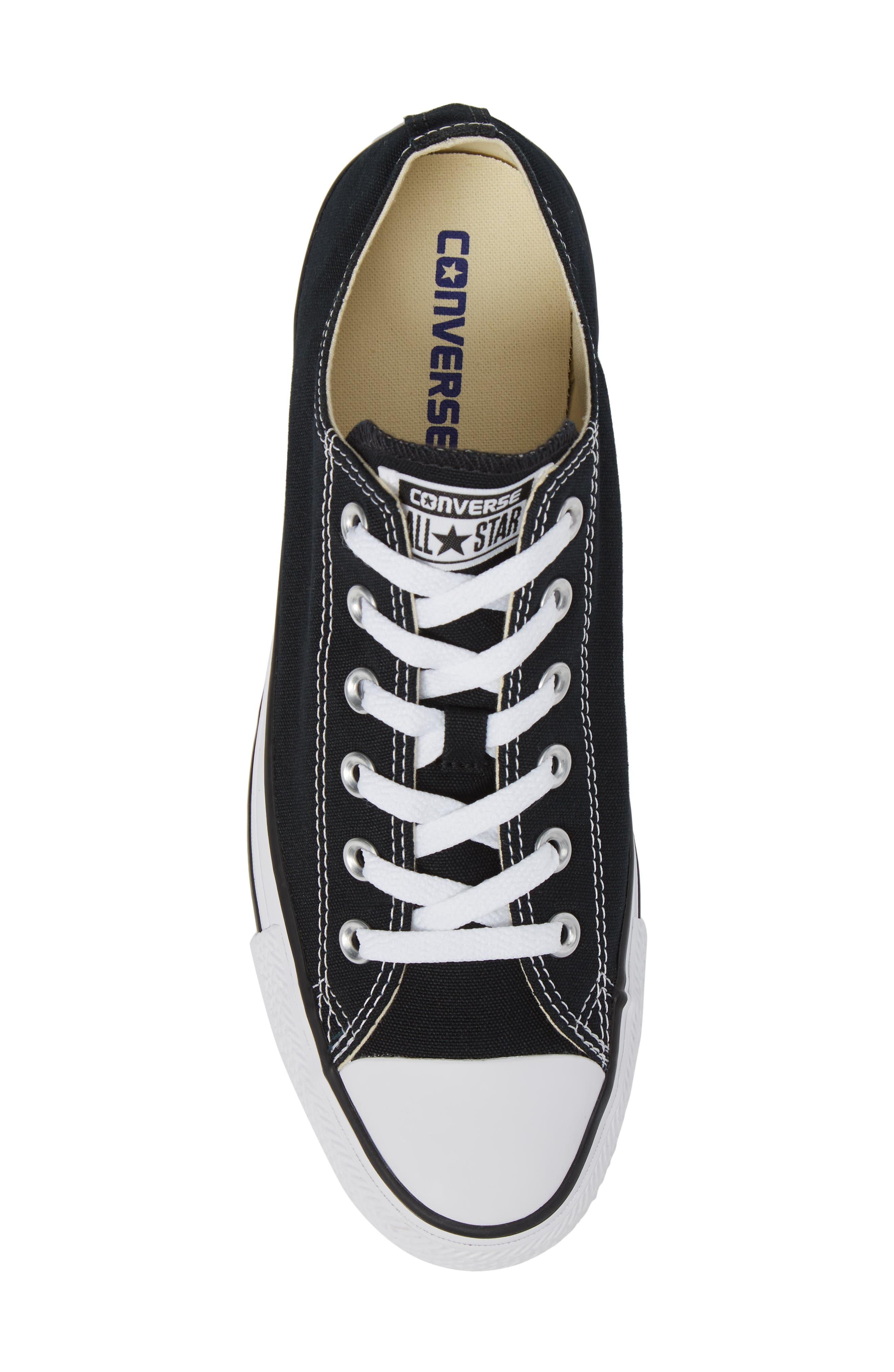 CONVERSE, Chuck Taylor<sup>®</sup> Low Sneaker, Alternate thumbnail 5, color, BLACK