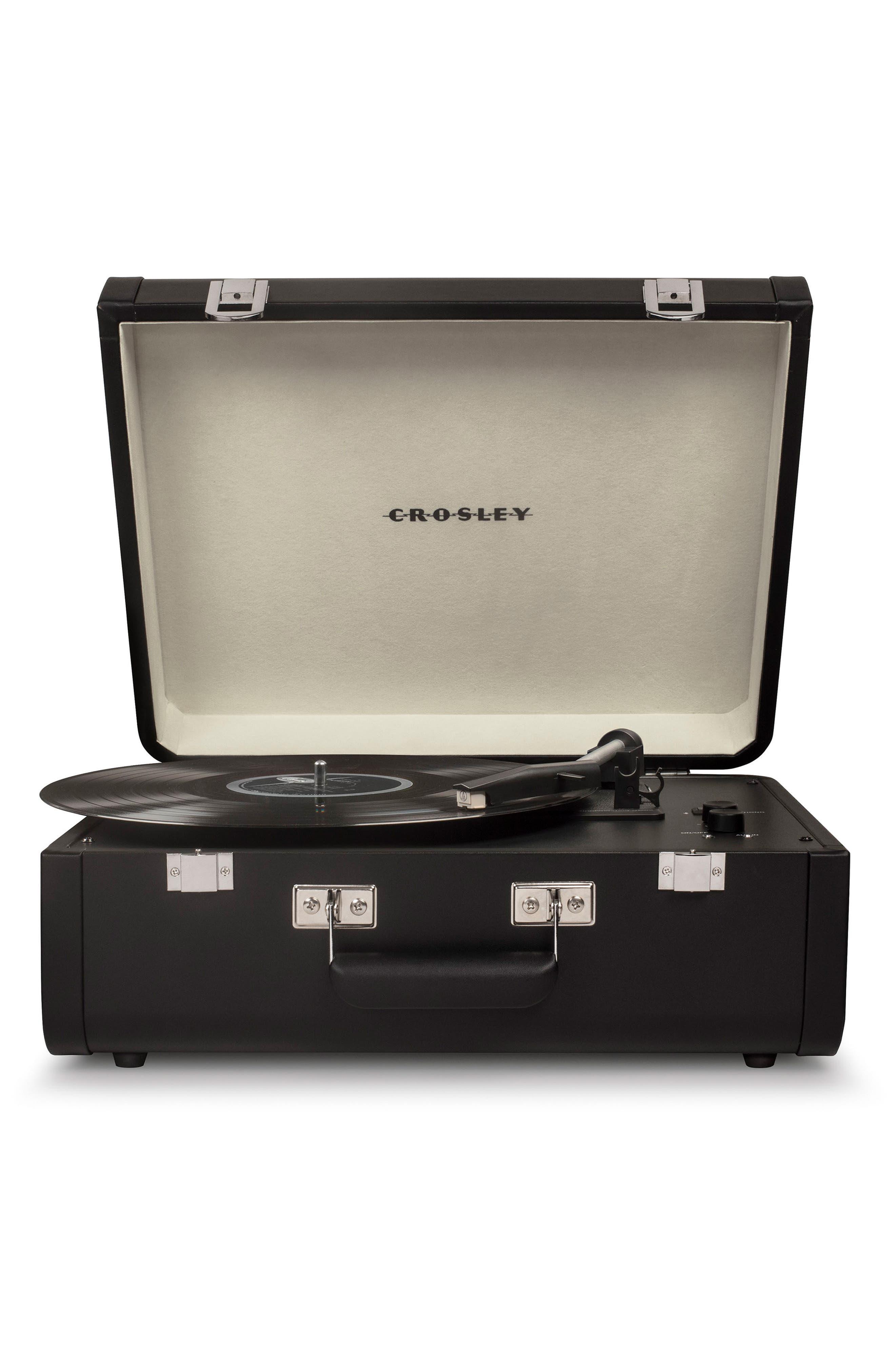 CROSLEY RADIO, Portfolio Bluetooth Portable Turntable, Main thumbnail 1, color, BLACK