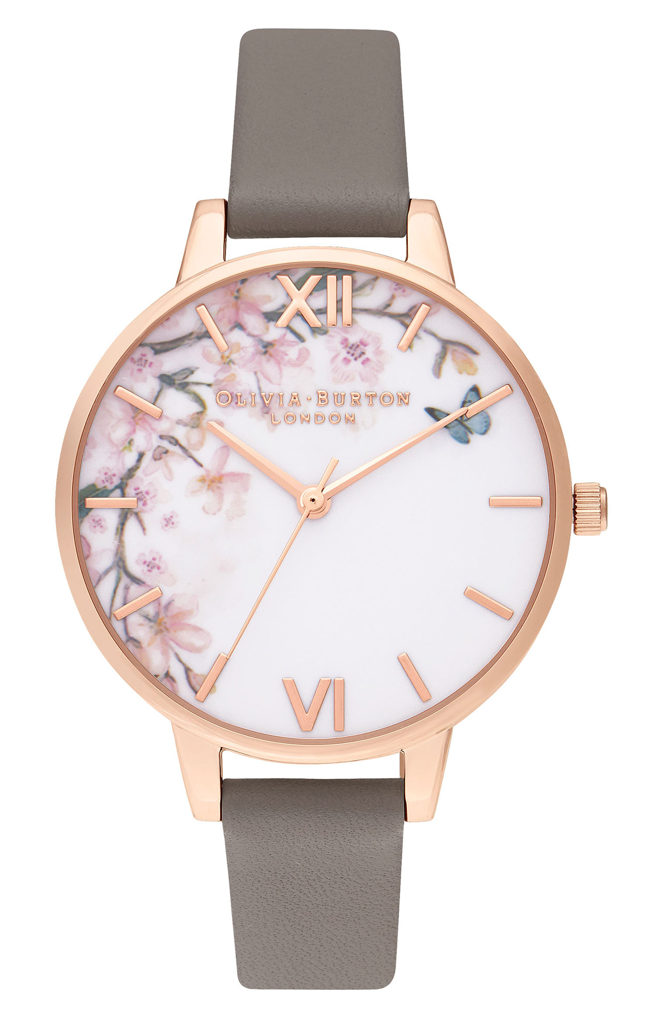 OLIVIA BURTON, Pretty Blossom Leather Strap Watch, 34mm, Main thumbnail 1, color, GREY / WHITE/ ROSE GOLD