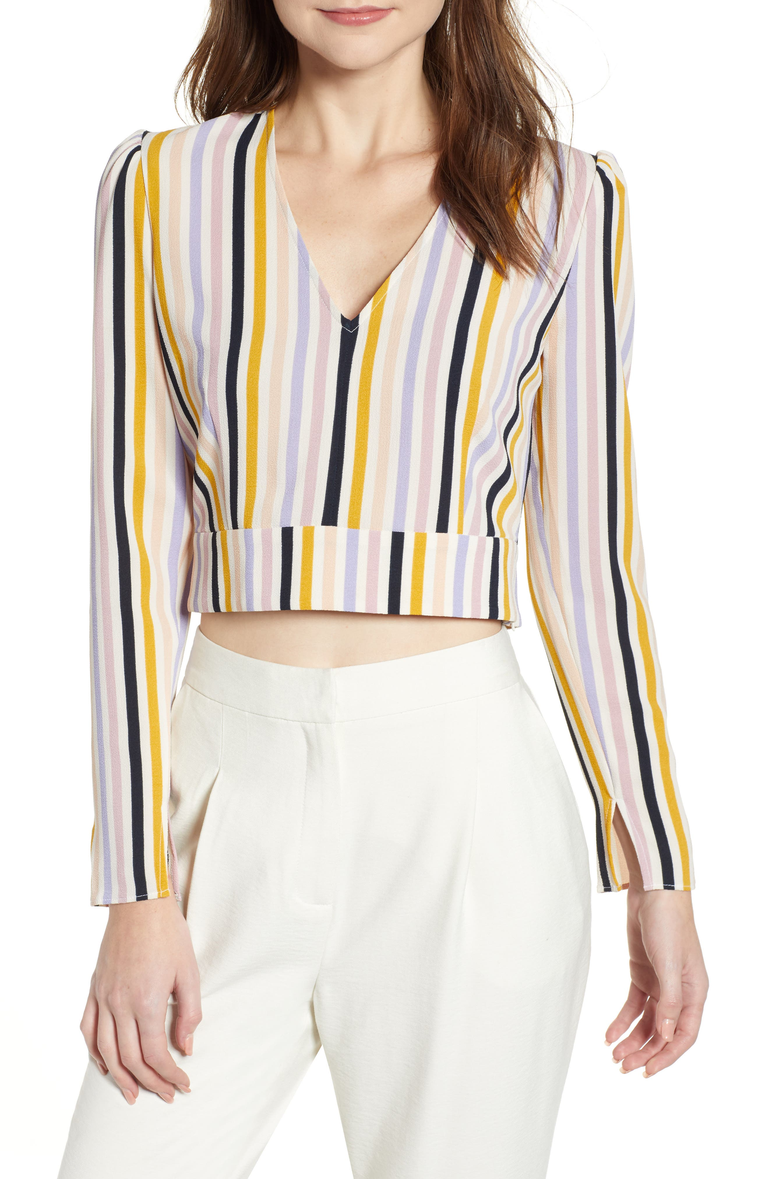 LEITH, V-Neck Crop Top, Main thumbnail 1, color, PINK SPRING STRIPE
