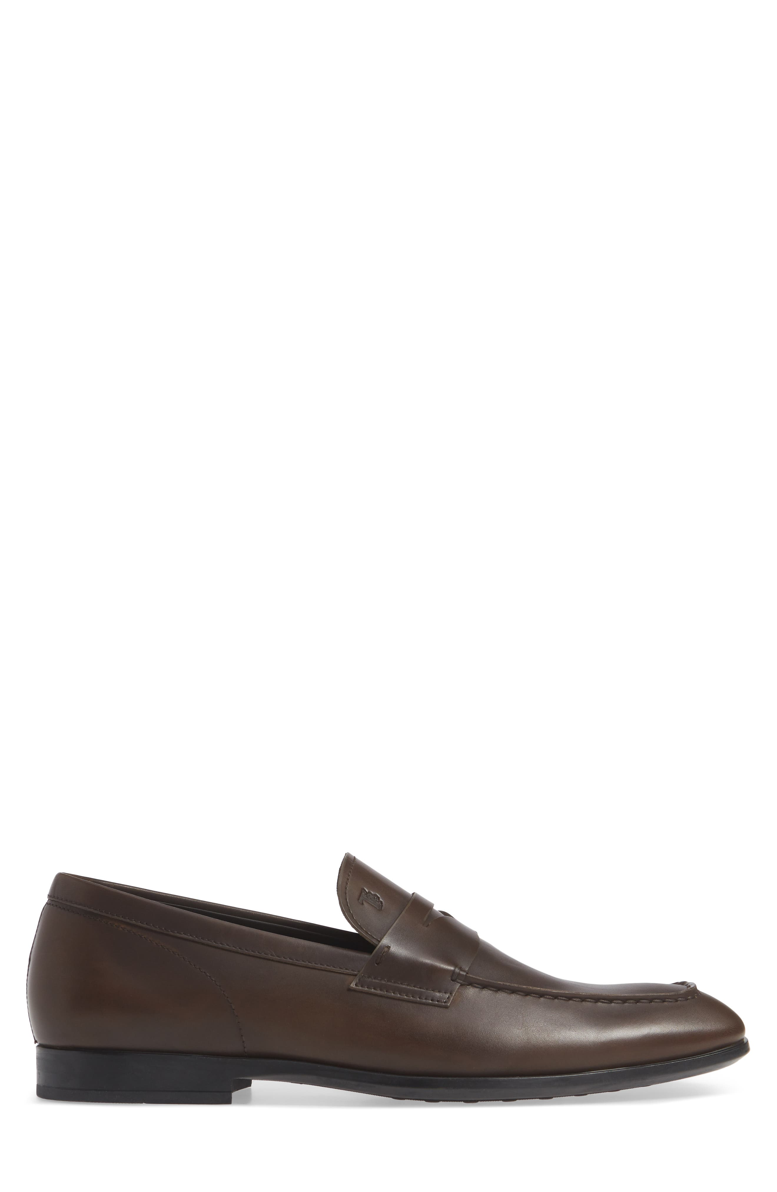 TOD'S, Mocassino Penny Loafer, Alternate thumbnail 3, color, DARK BROWN