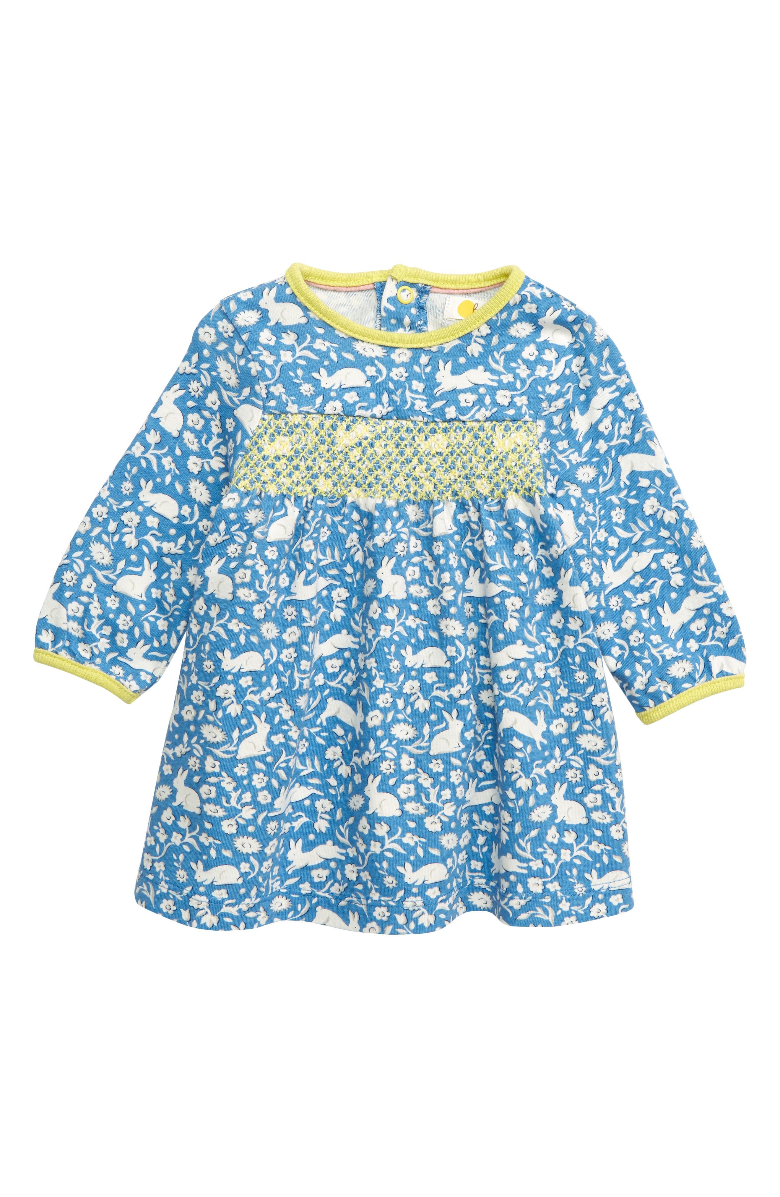 MINI BODEN Pretty Smocked Jersey Dress, Main, color, ELIZABETH BLUE WILD BUNNIES