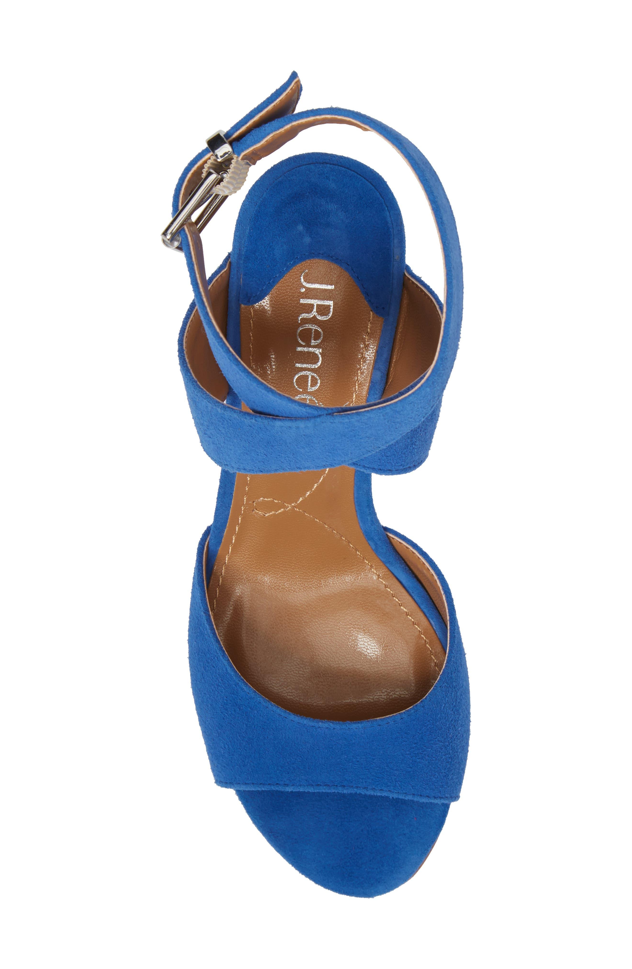 J. RENEÉ, 'Soncino' Ankle Strap Sandal, Alternate thumbnail 5, color, BLUE FABRIC