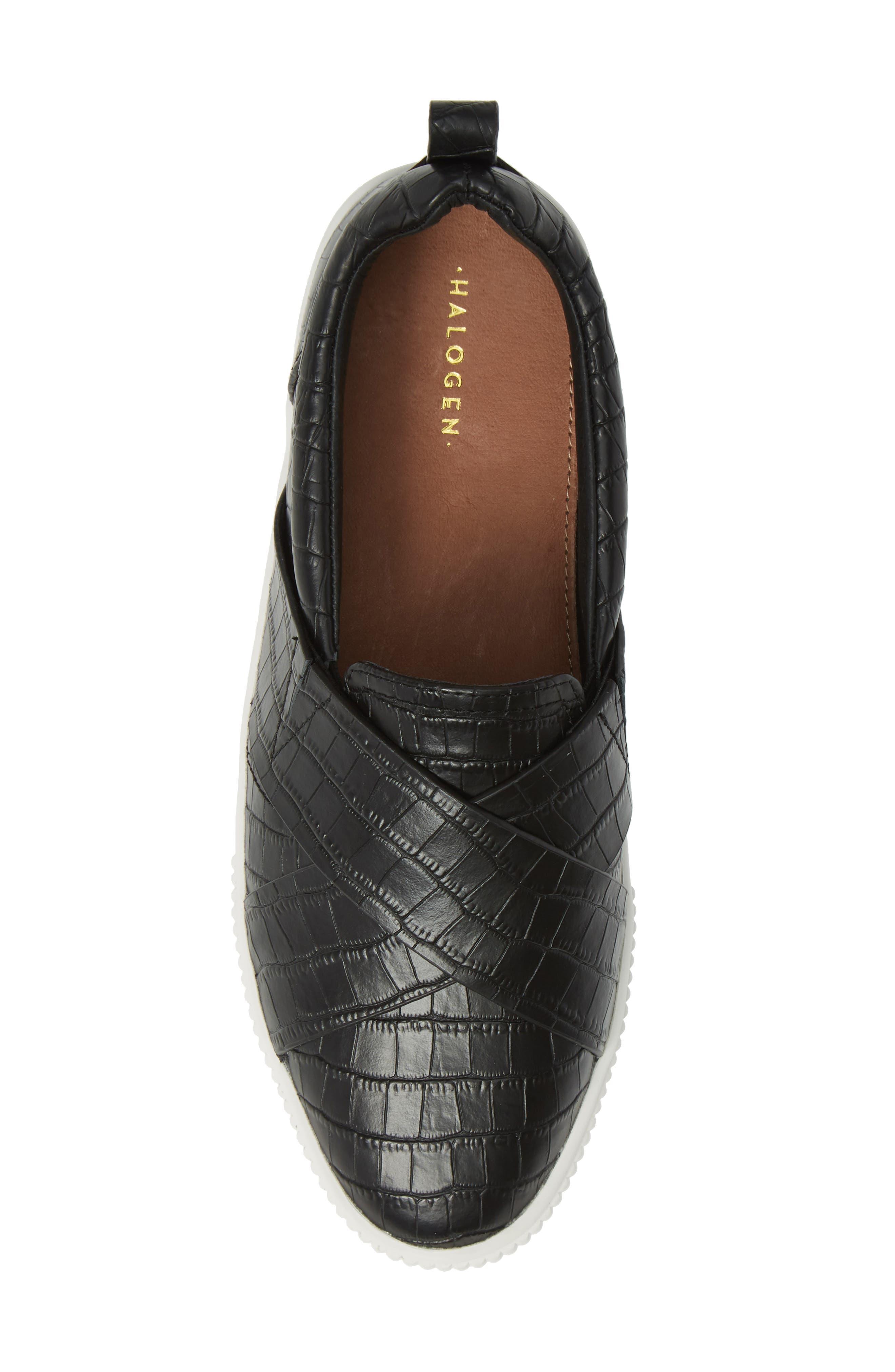 HALOGEN<SUP>®</SUP>, Blakely Slip-On Platform Sneaker, Alternate thumbnail 5, color, BLACK CROCO PRINTED LEATHER