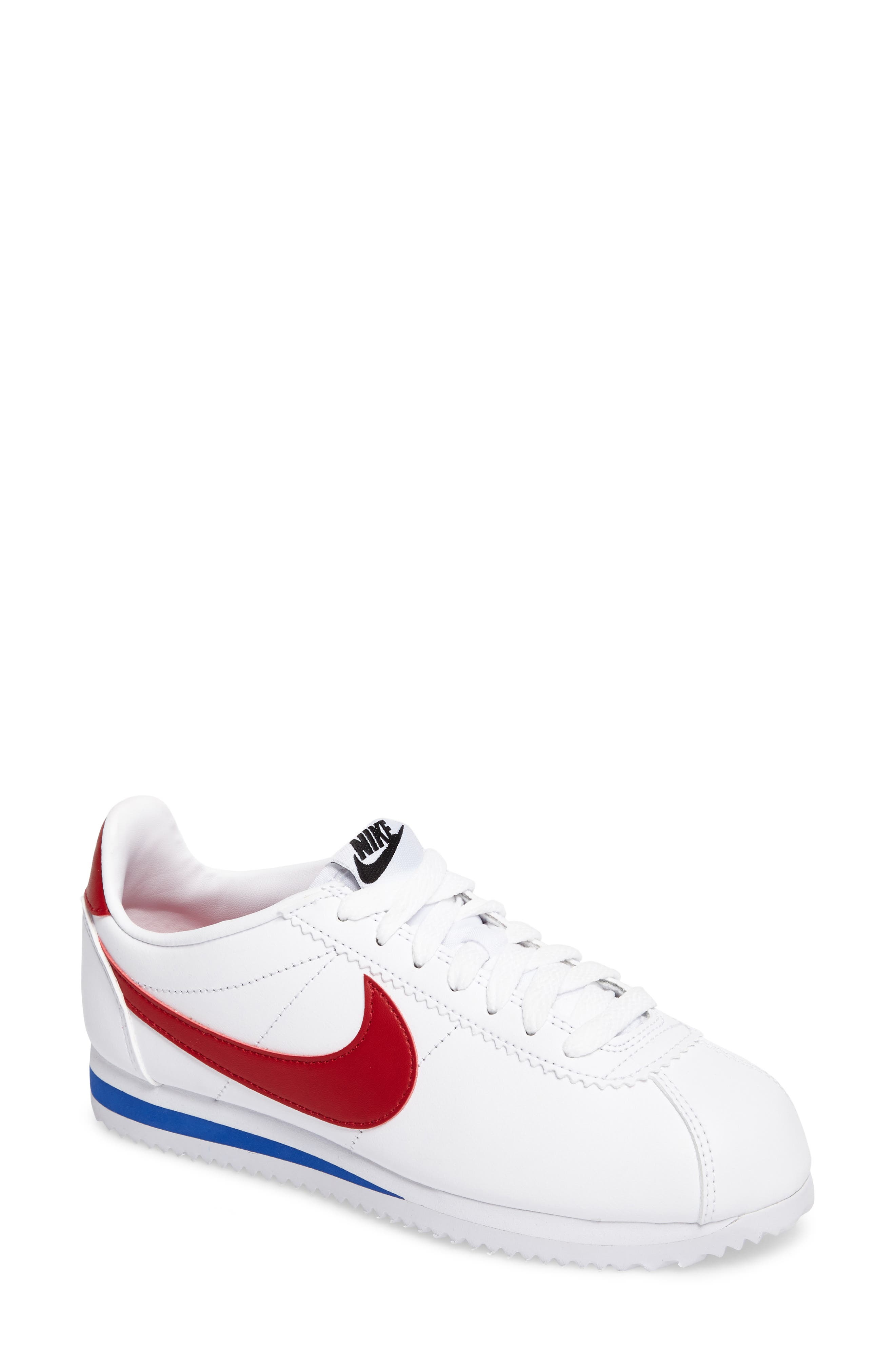 NIKE, Classic Cortez Sneaker, Main thumbnail 1, color, WHITE/ VARSITY RED