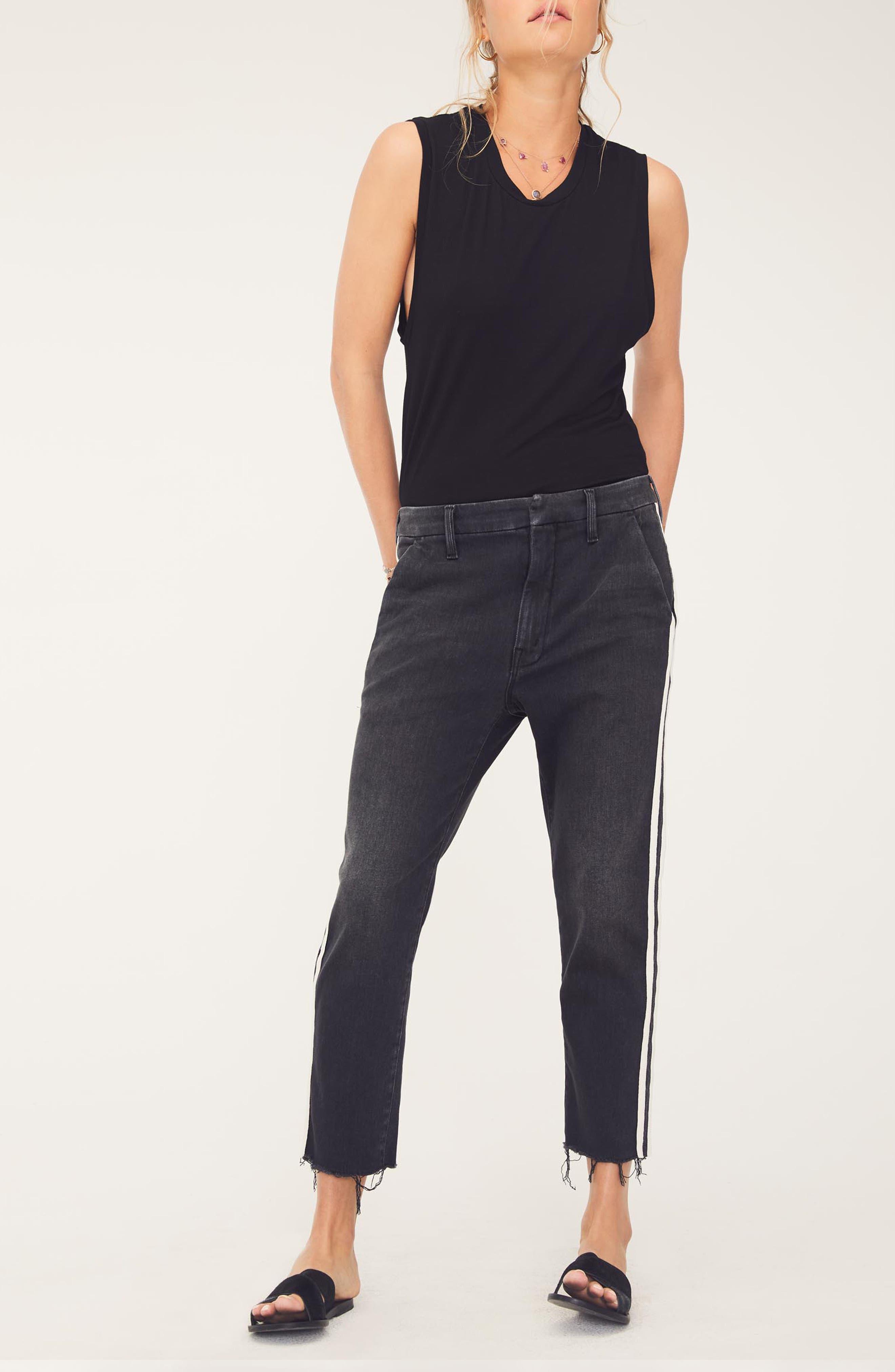 MOTHER, The Shaker Prep High Waist Crop Slim Jeans, Alternate thumbnail 7, color, DEAR MR. BLACK RACER