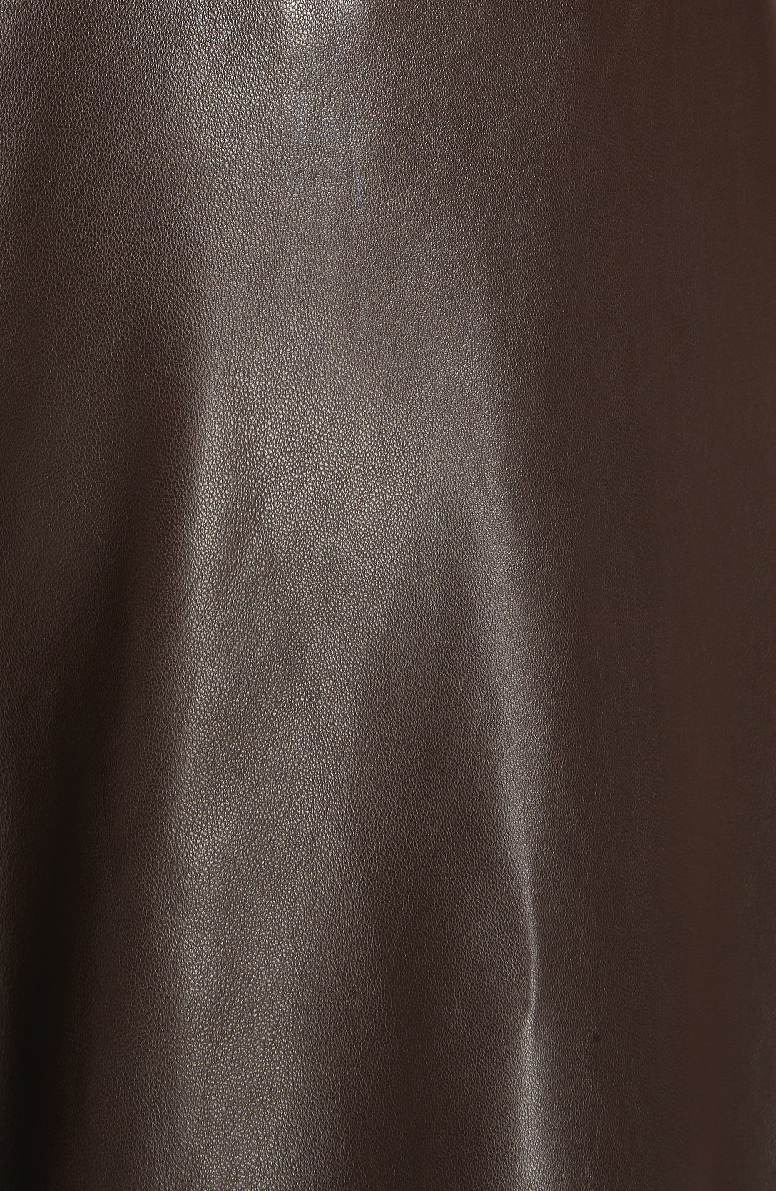 NILI LOTAN, Nico Leather Pants, Alternate thumbnail 5, color, BROWN