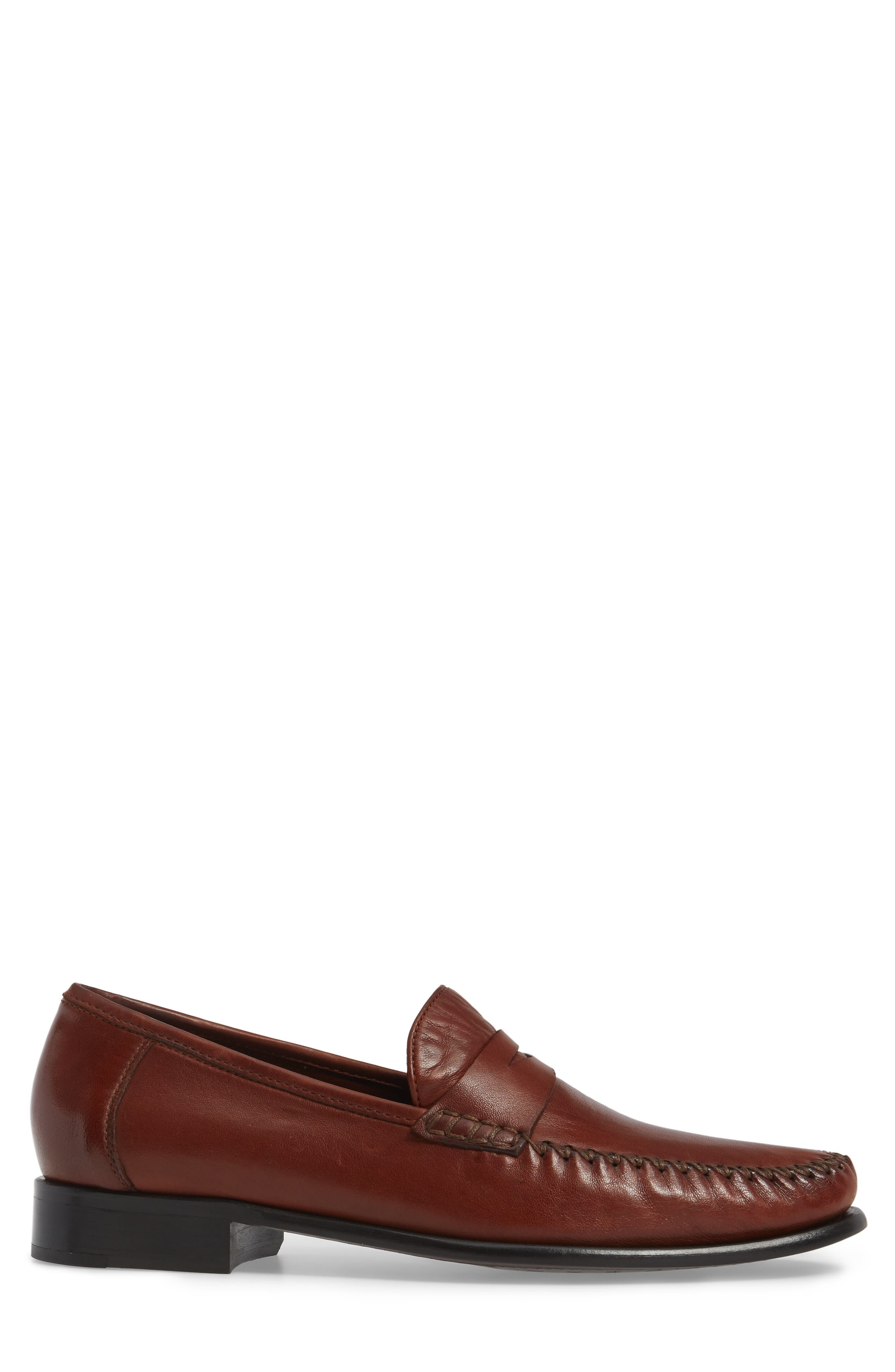 ROBERT ZUR, Penny Loafer, Alternate thumbnail 3, color, DARK LUGGAGE LEATHER
