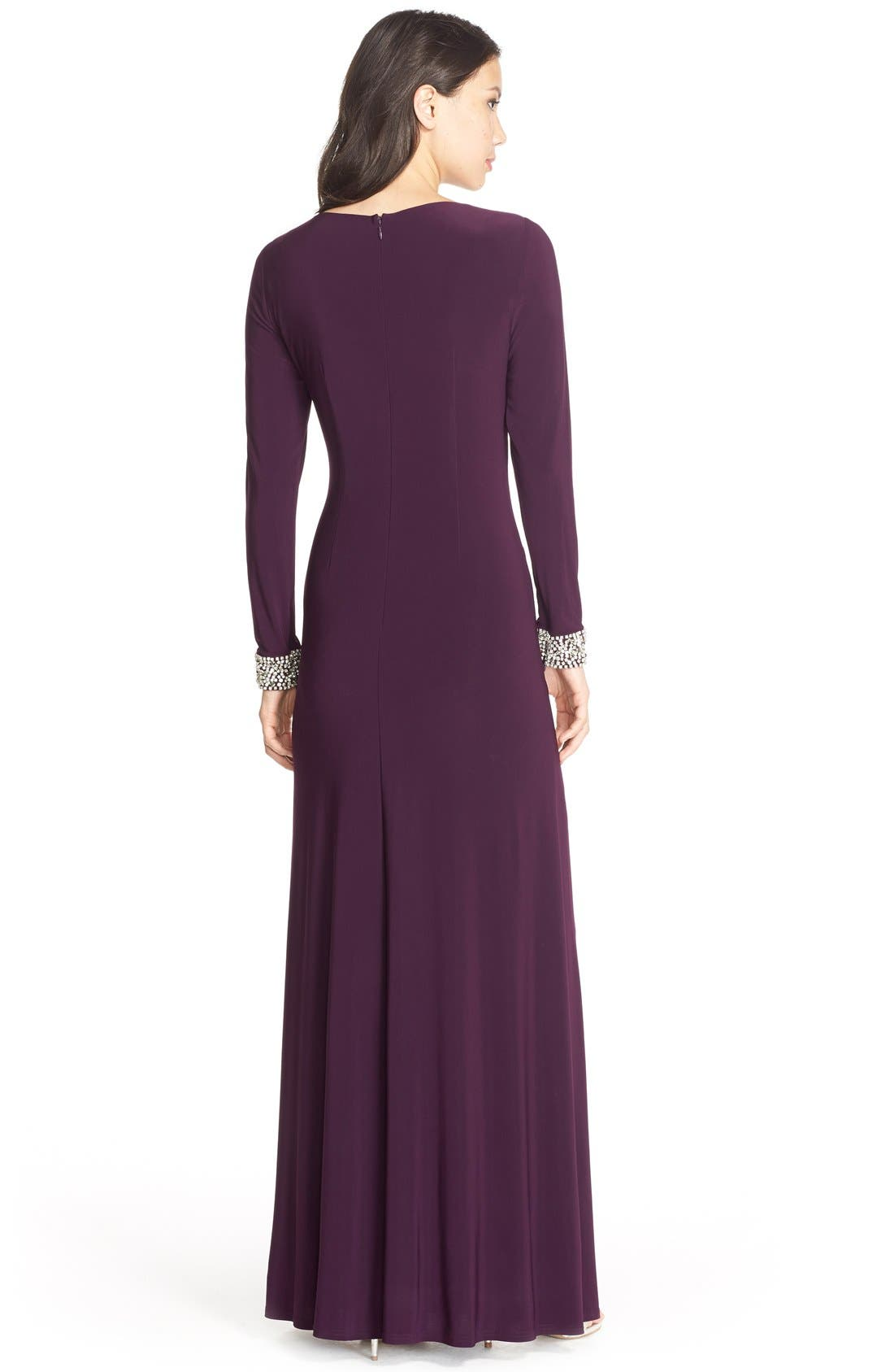 VINCE CAMUTO, Beaded Cuff Ruched Jersey Gown, Alternate thumbnail 8, color, 505