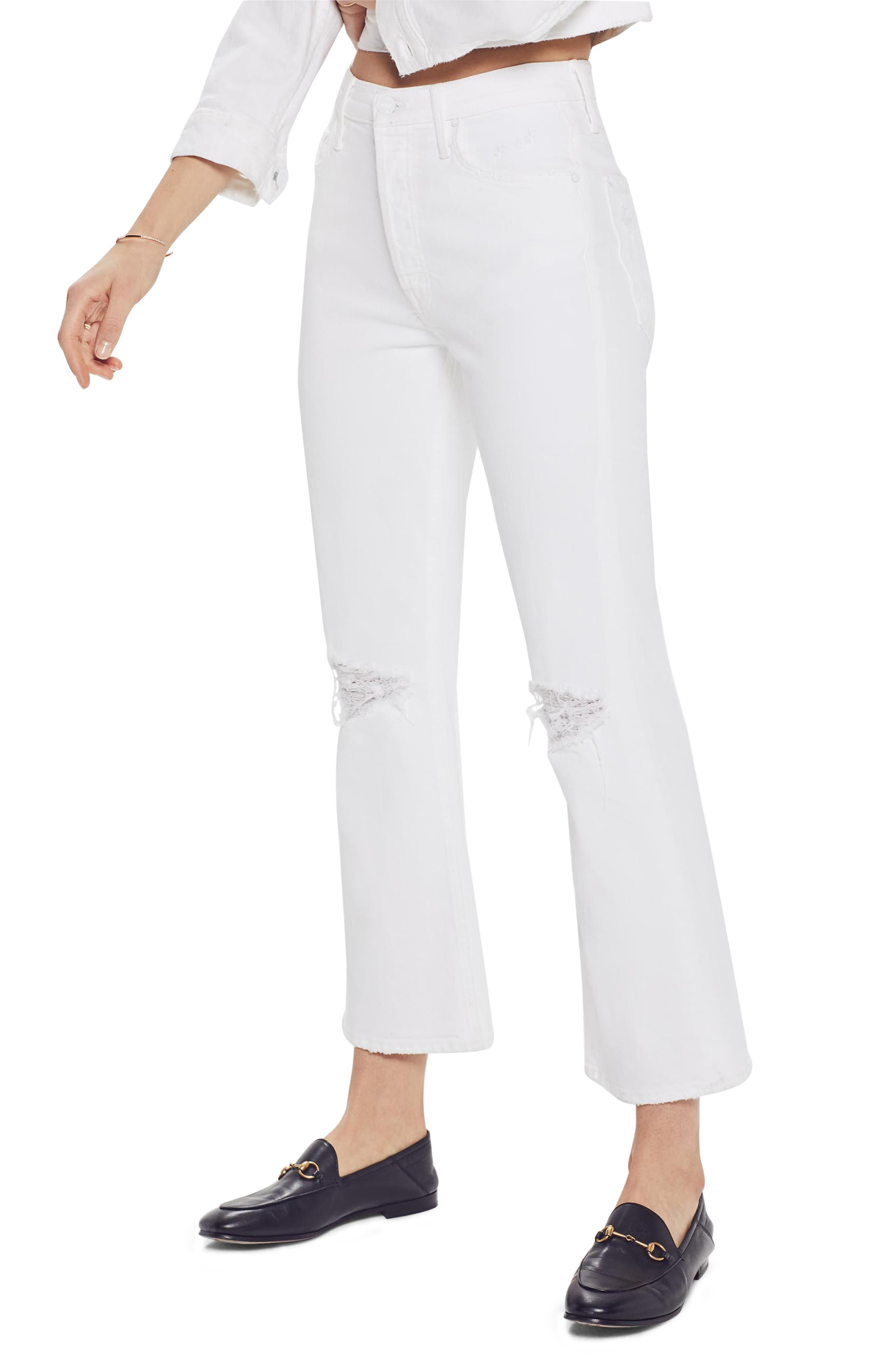 MOTHER, The Tripper High Waist Crop Bootcut Jeans, Alternate thumbnail 3, color, ALMOST INNOCENT