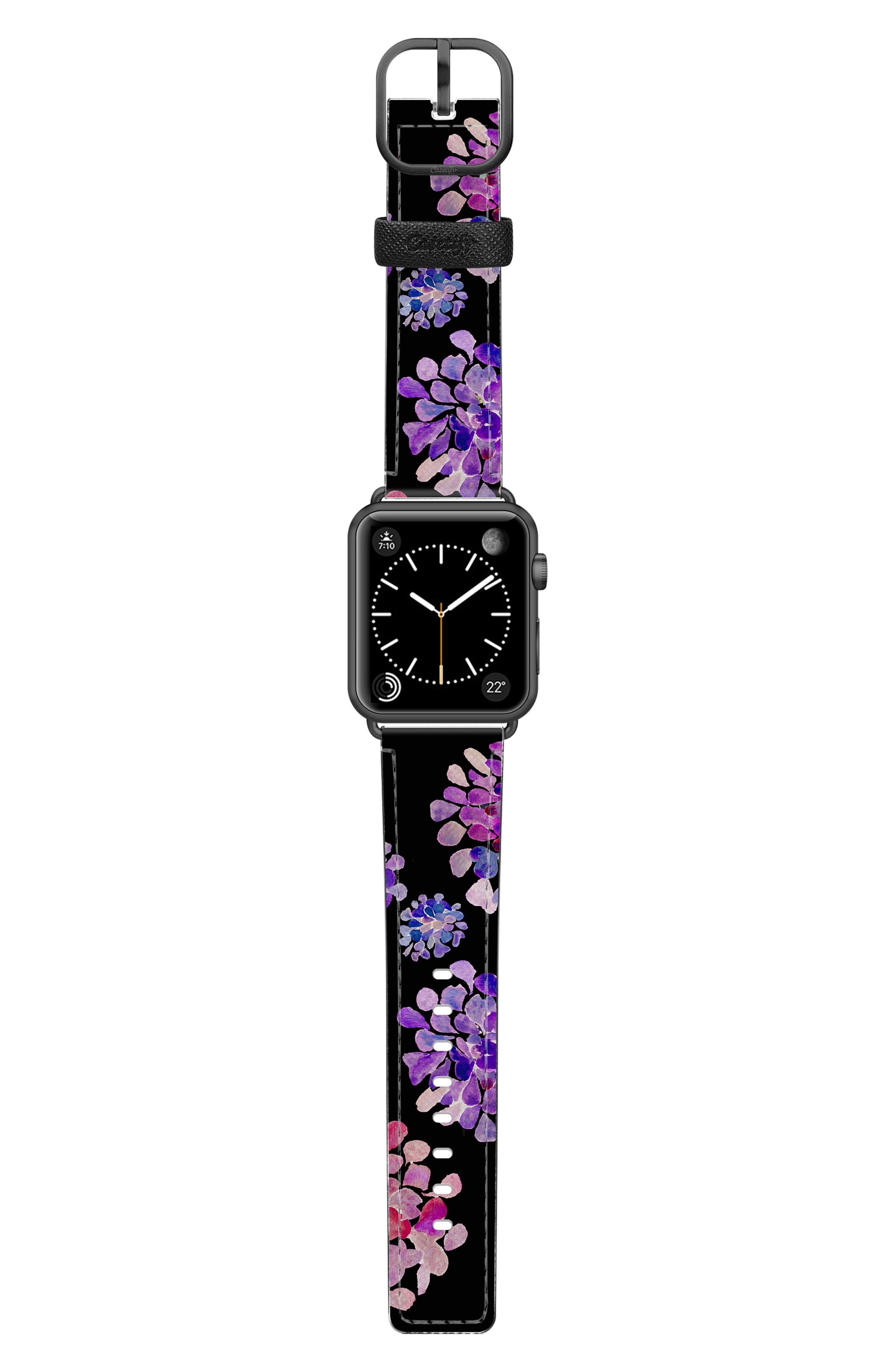 CASETIFY, Saffiano Purple Flowers Faux Leather Apple Watch Strap, Alternate thumbnail 3, color, BLACK