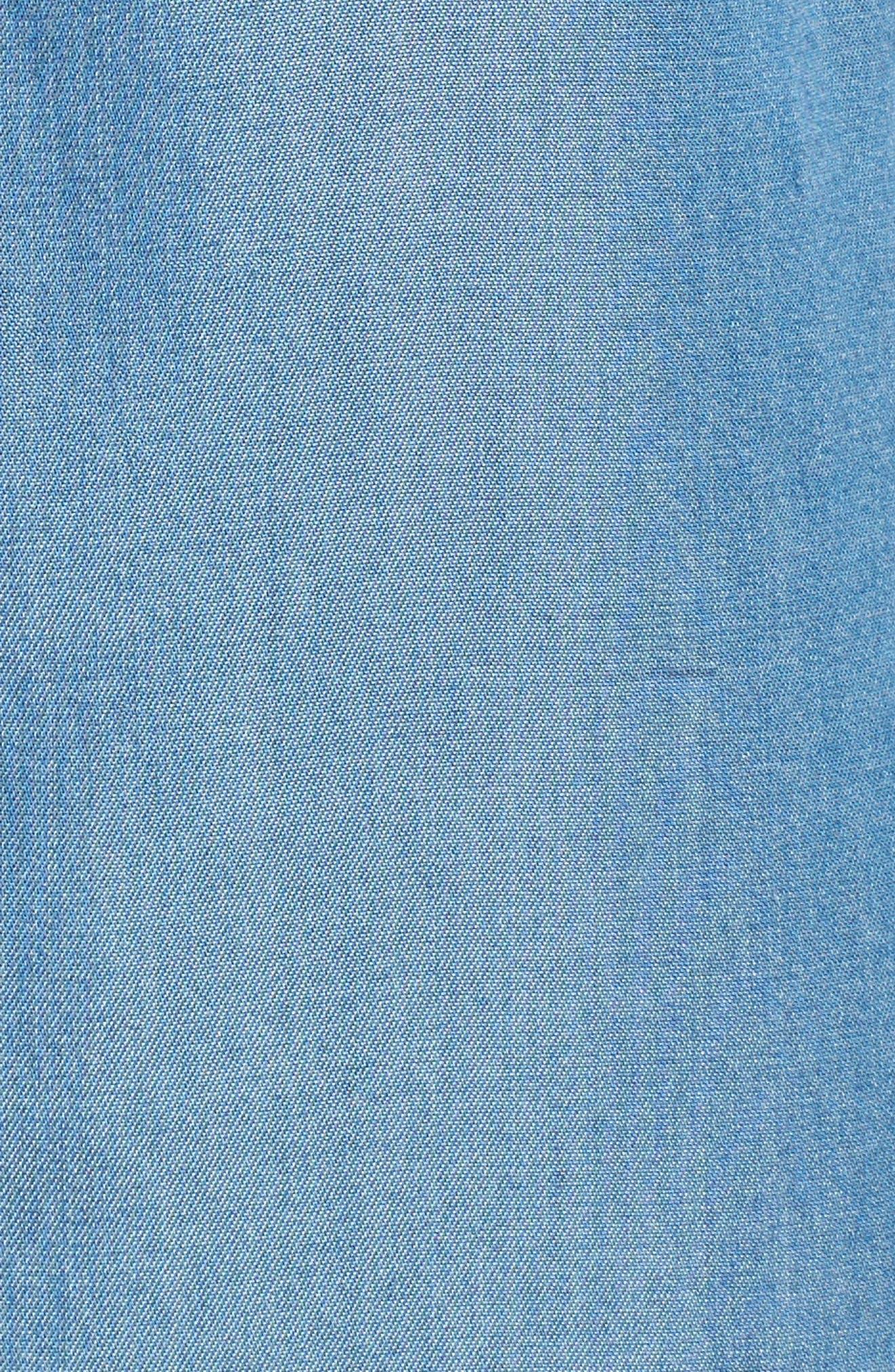 MICHAEL MICHAEL KORS, Patch Pocket Chambray Shirtdress, Alternate thumbnail 5, color, 401