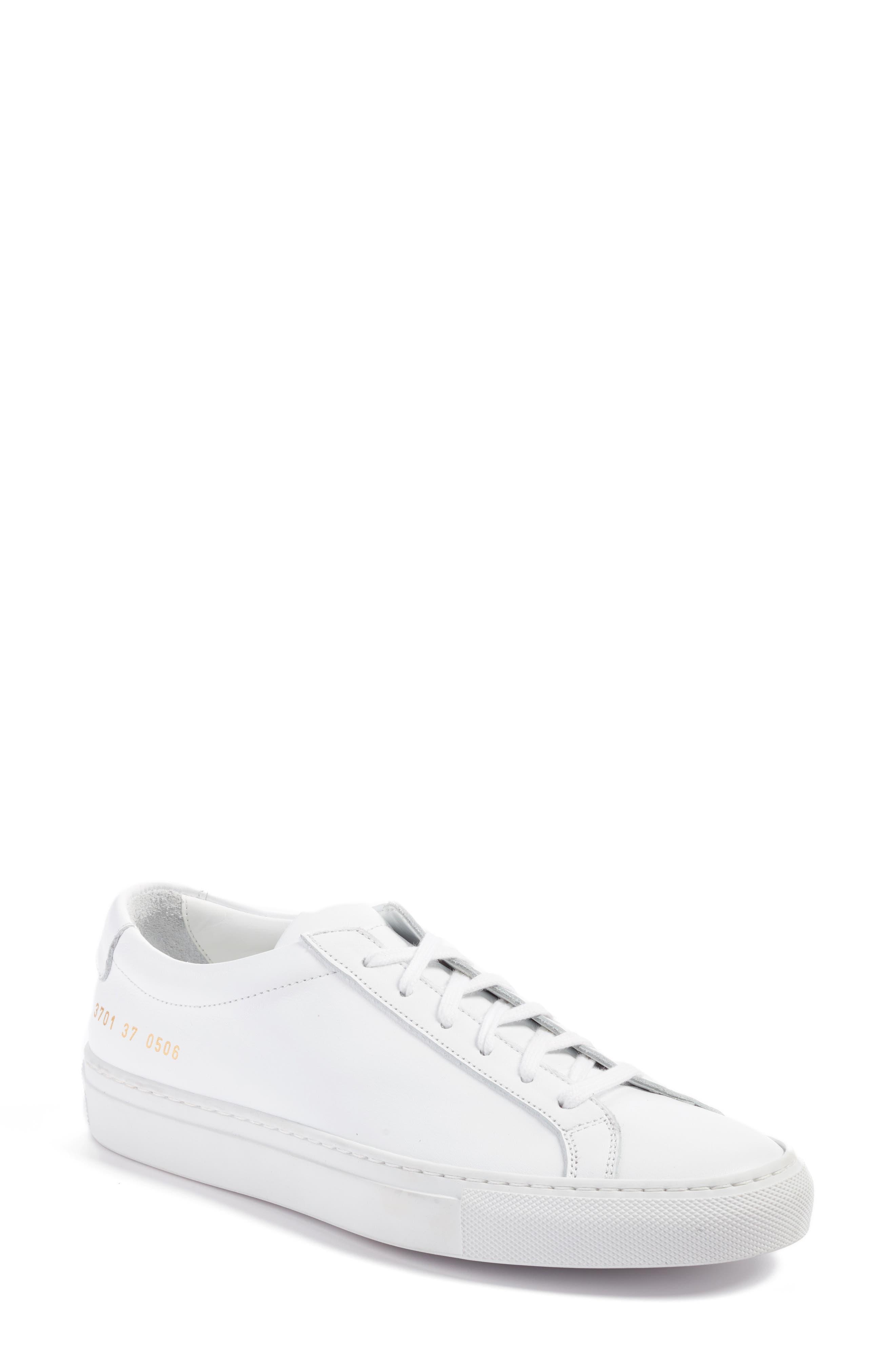 COMMON PROJECTS, Original Achilles Sneaker, Main thumbnail 1, color, WHITE LEATHER