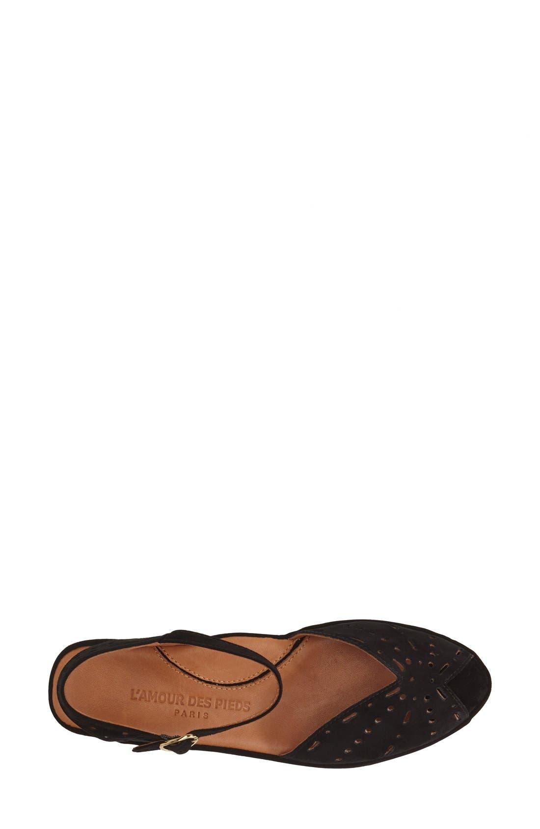 L'AMOUR DES PIEDS, 'Brenn' Ankle Strap Sandal, Alternate thumbnail 8, color, BLACK SUEDE