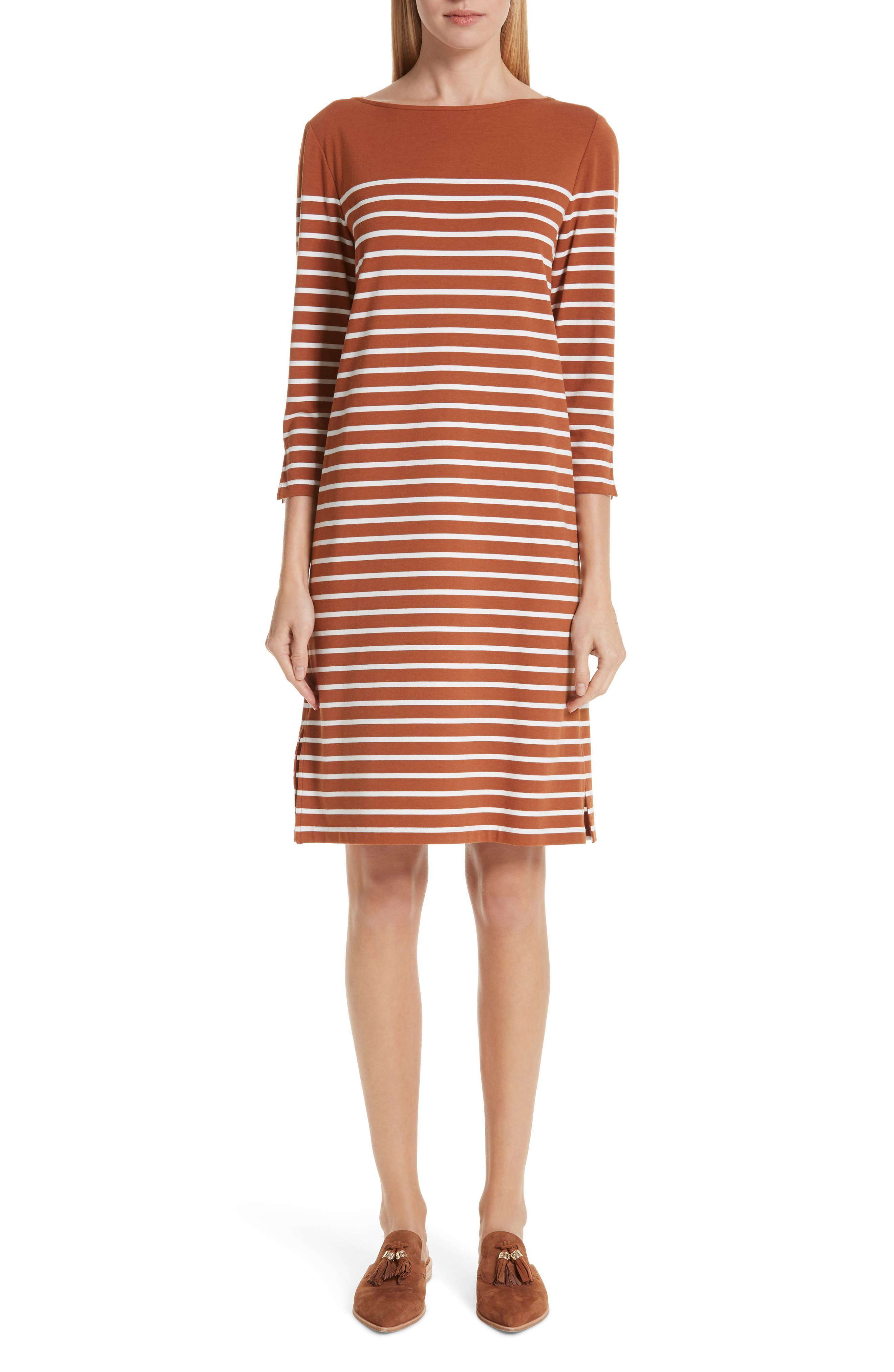 Lafayette 148 New York Daytona Stripe Dress, Orange