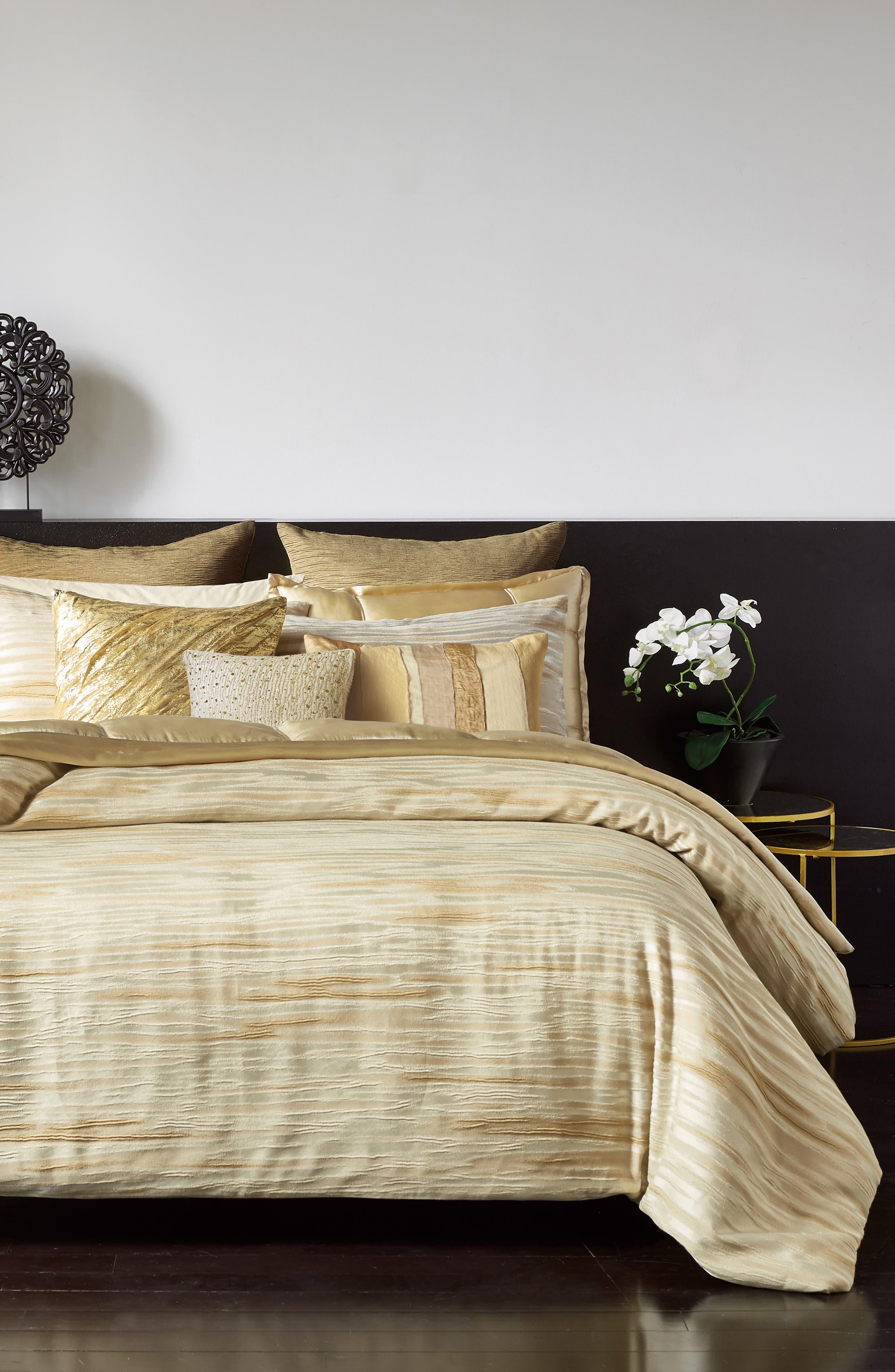 DONNA KARAN NEW YORK Gilded Duvet Cover, Main, color, GOLD